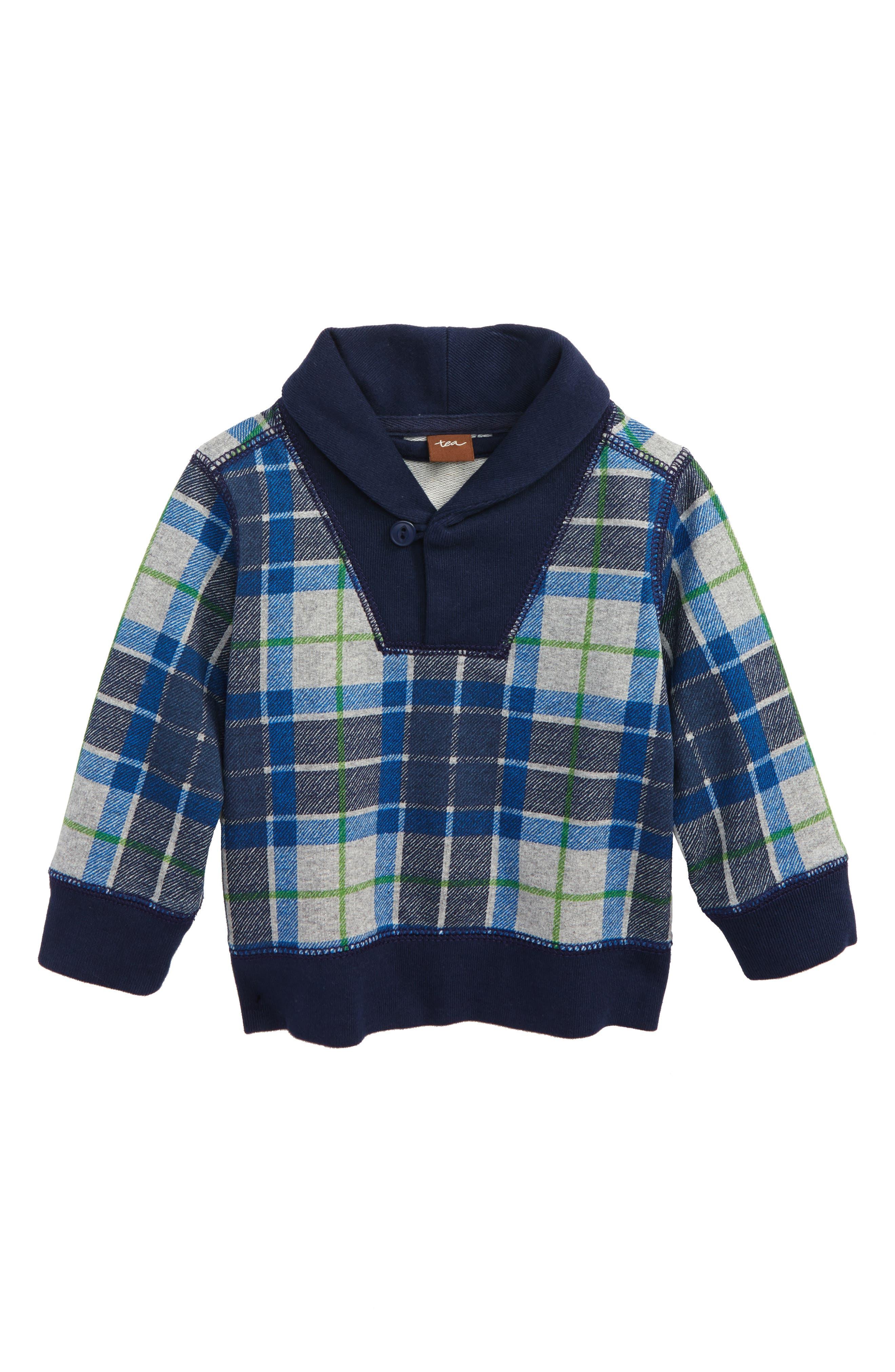 Tartan Pullover Sweater,                         Main,                         color, Med Heather Grey