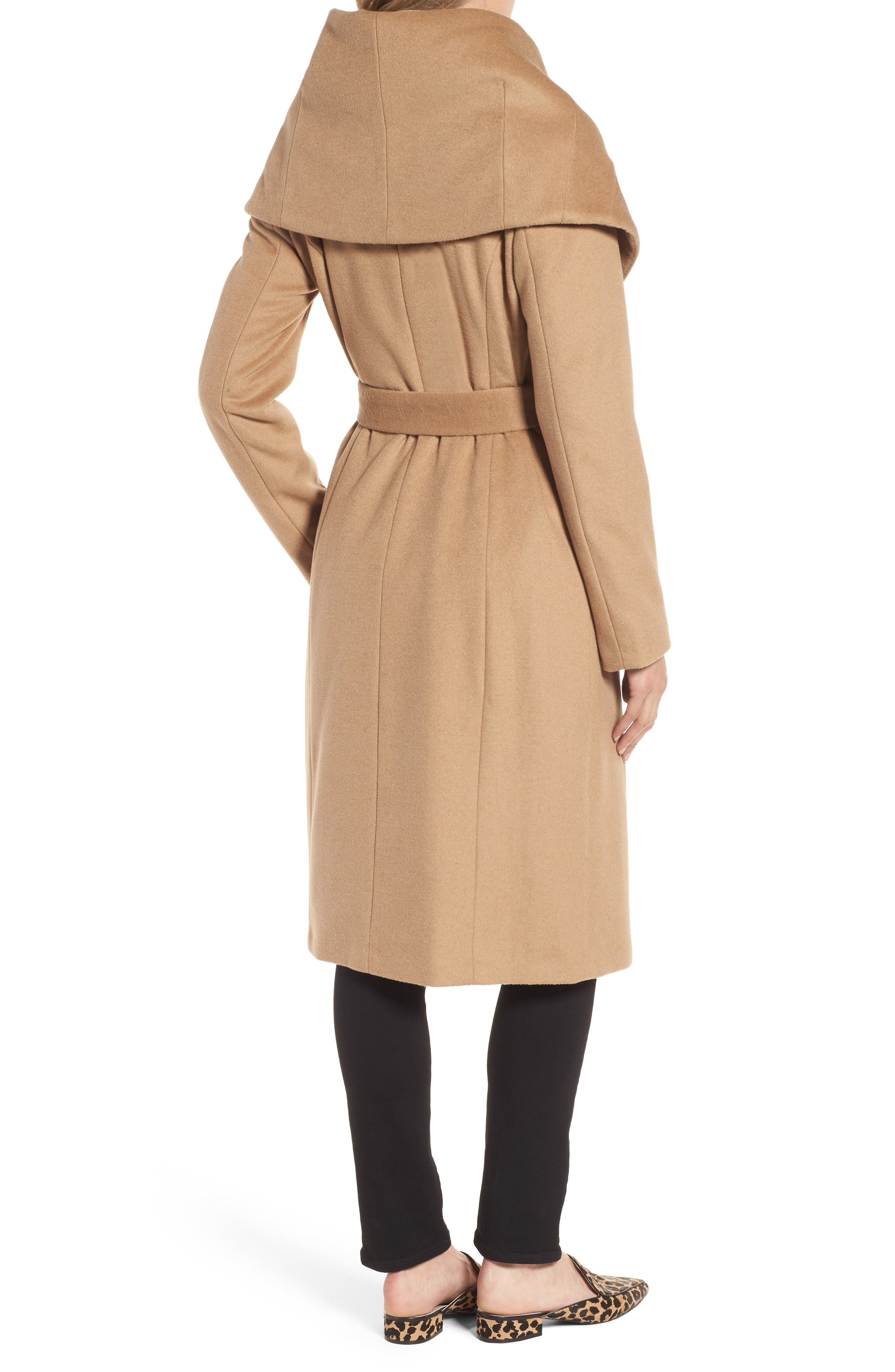 Alternate Image 2  - DKNY Wool Blend Shawl Collar Wrap Coat