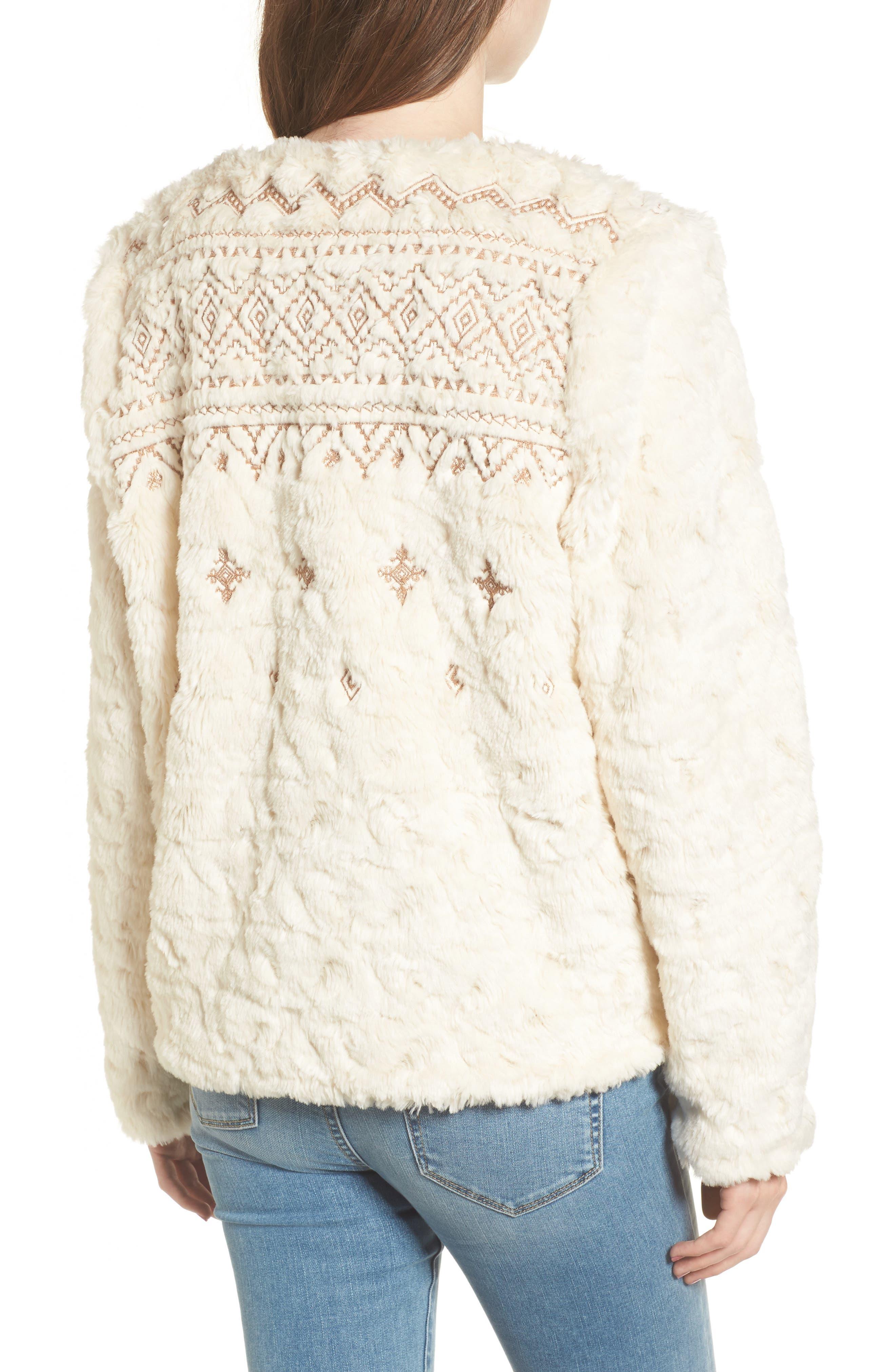 Metallic Embroidery Faux Fur Jacket,                             Alternate thumbnail 2, color,                             Ivory