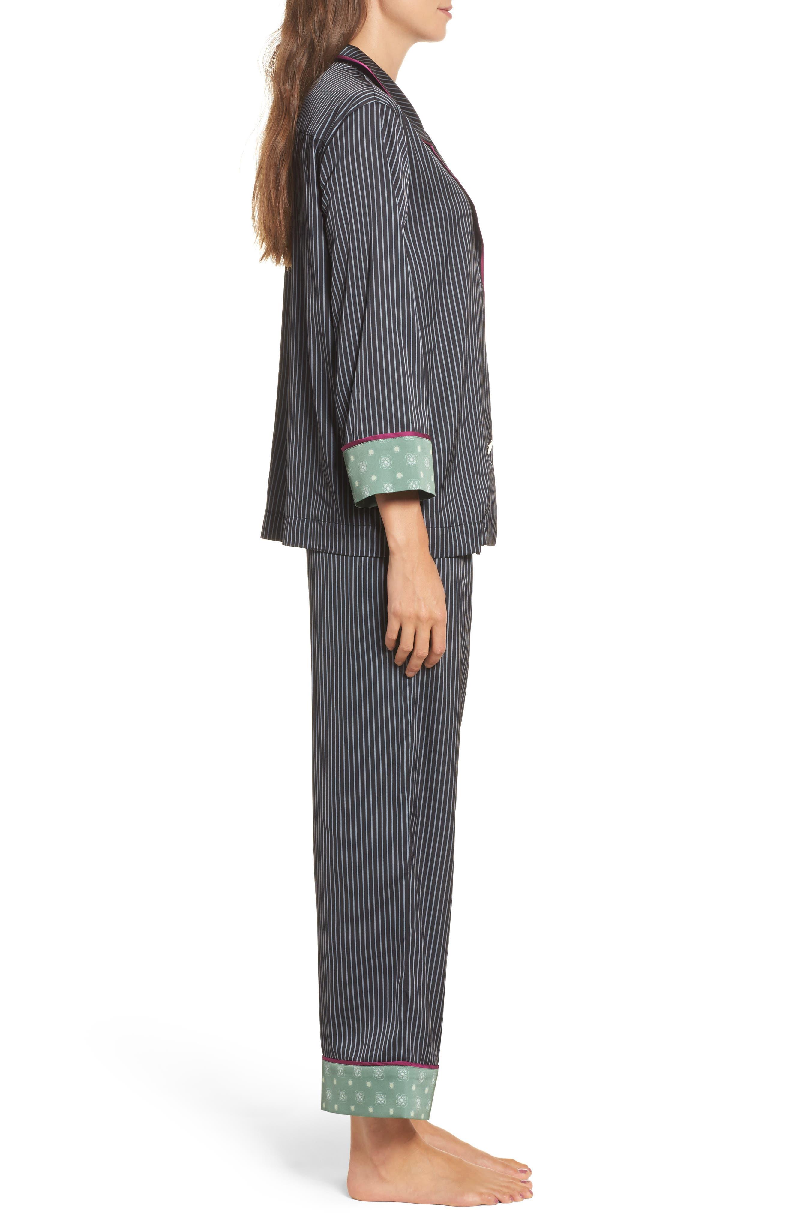 Alternate Image 3  - Bed to Brunch Pinstripe Crop Pajamas