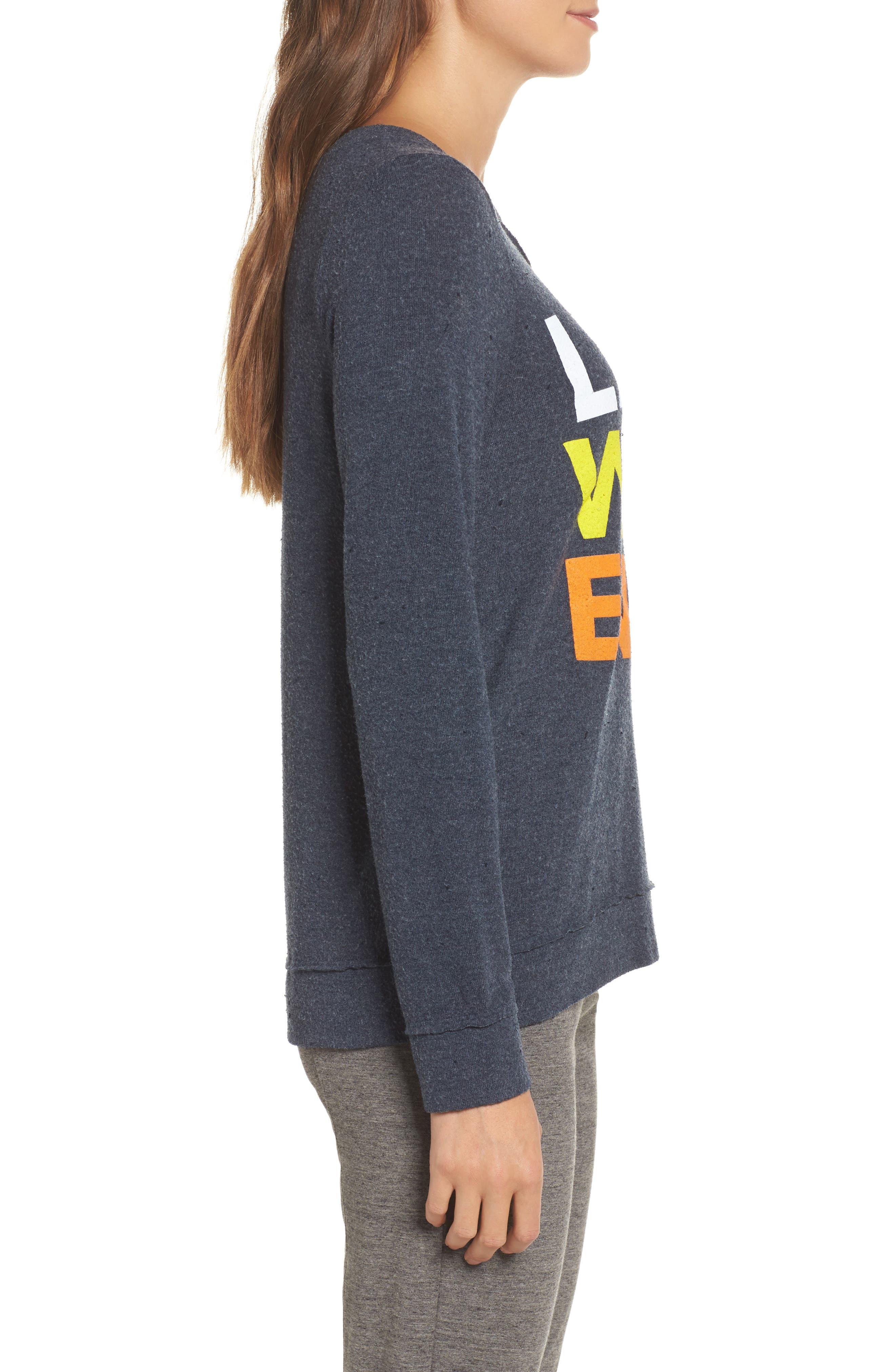 Lazy Weekend Love Knit Sweatshirt,                             Alternate thumbnail 3, color,                             Avalon