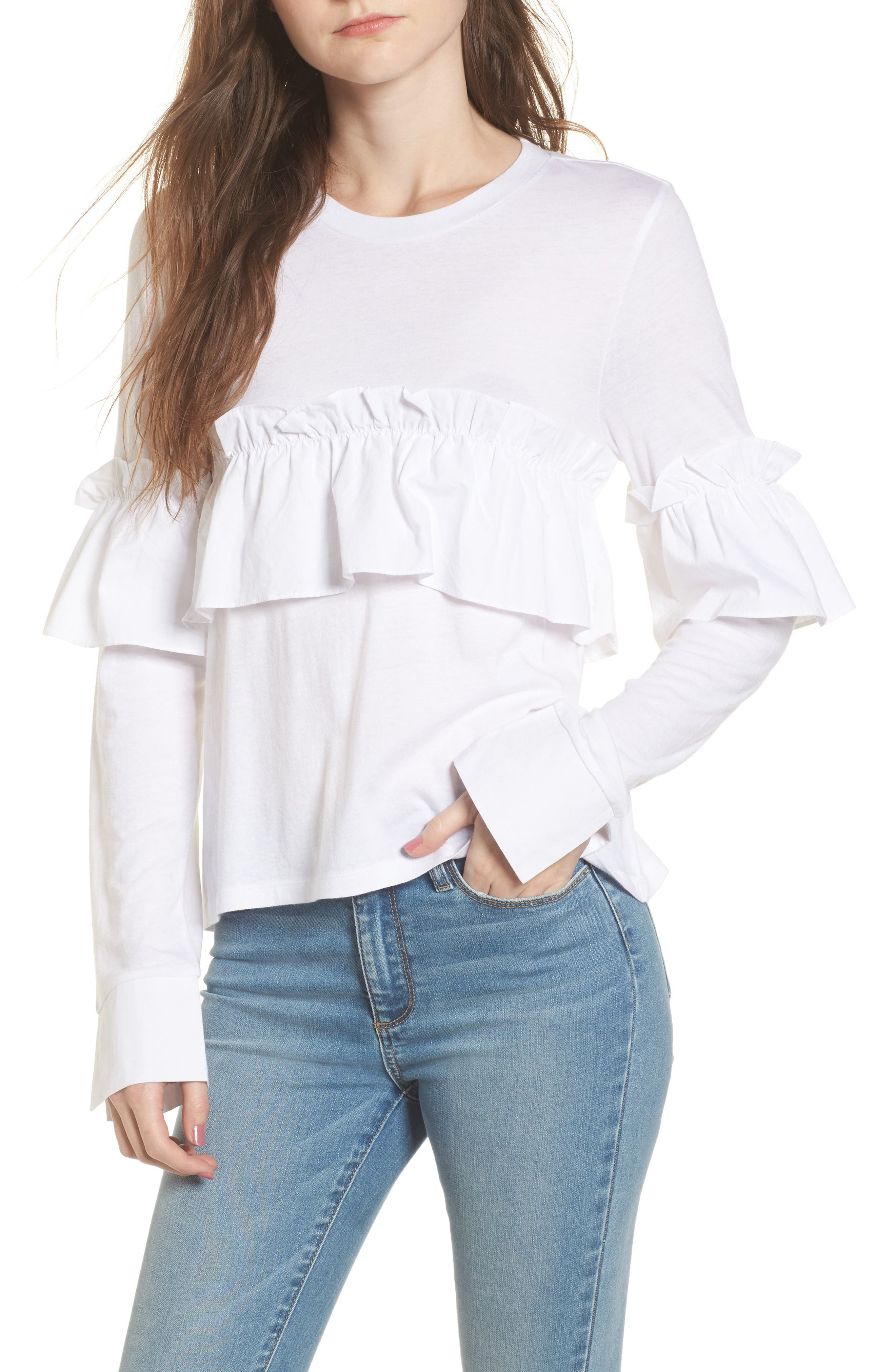 Ruffle Tee,                         Main,                         color, White
