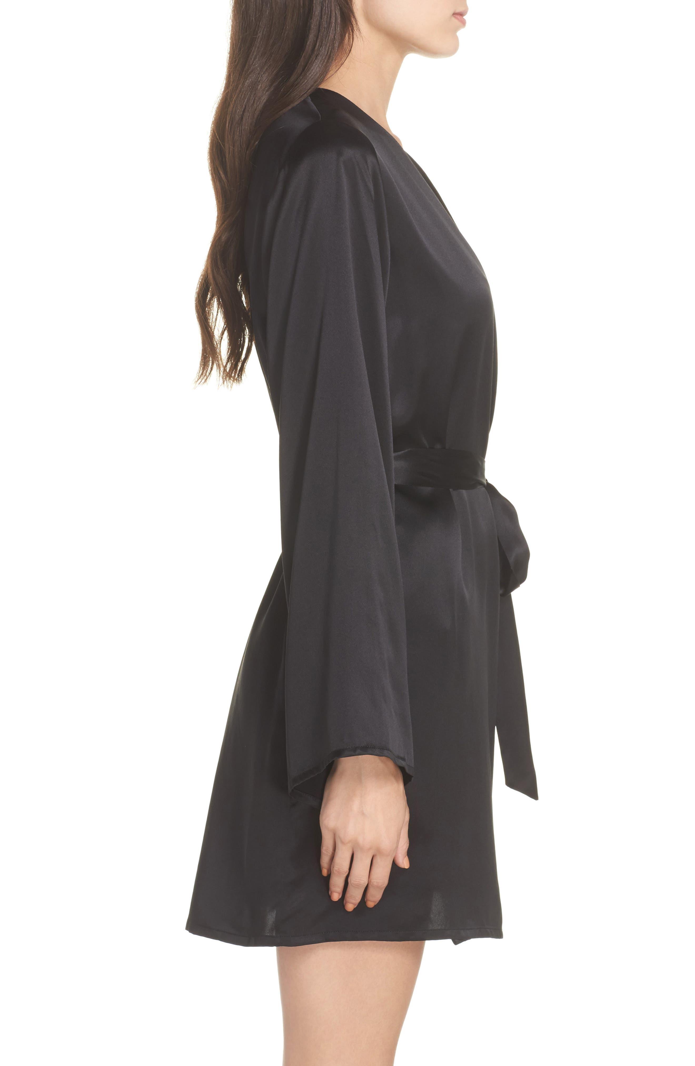Langley Silk Charmeuse Short Robe,                             Alternate thumbnail 3, color,                             Noir