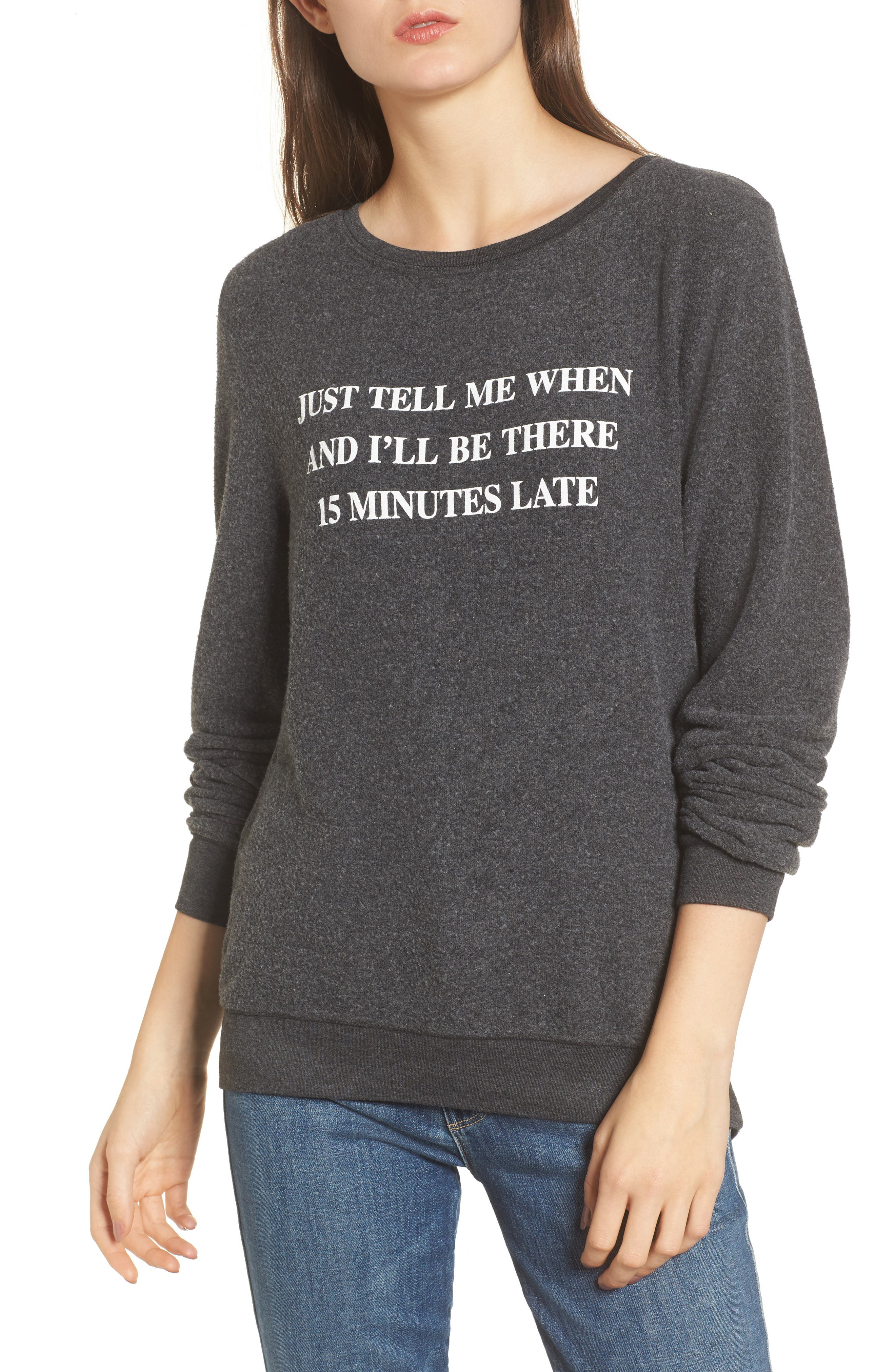 Just Tell Me When Sweatshirt,                         Main,                         color, Black