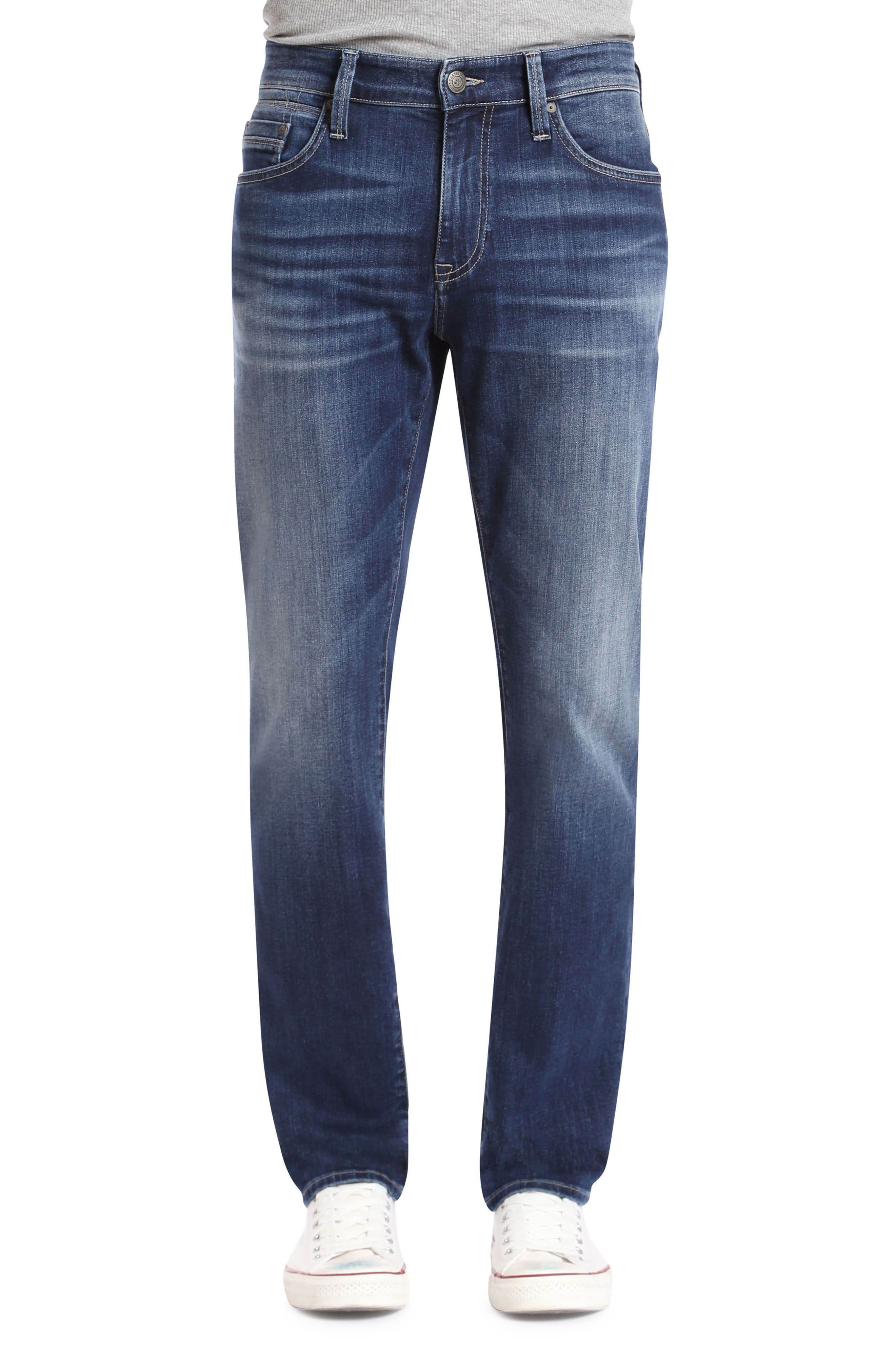 Marcus Slim Straight Leg Jeans,                             Main thumbnail 1, color,                             Dark Blue Williamsburg
