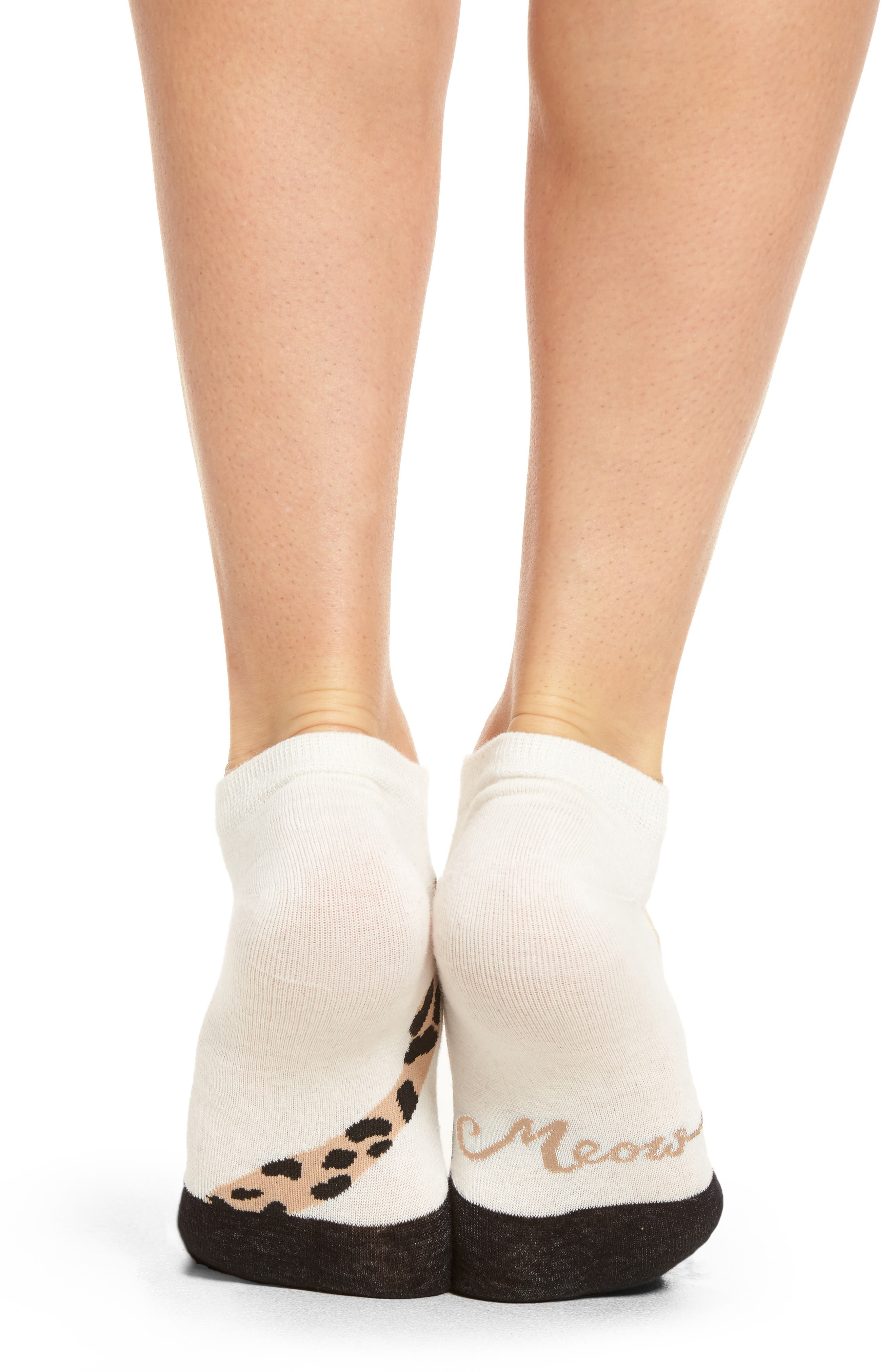 cheetah no-show socks,                             Alternate thumbnail 3, color,                             Cream
