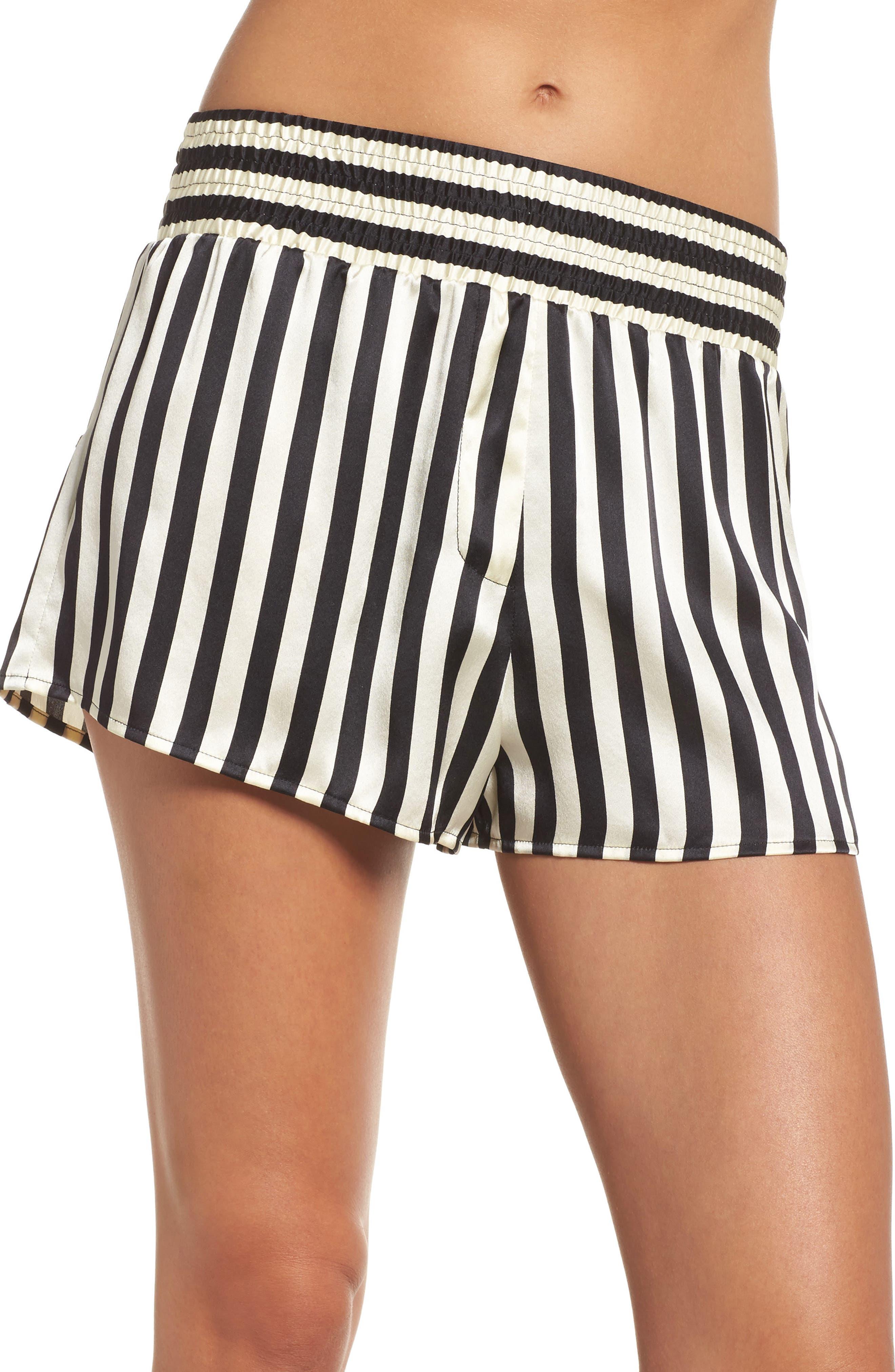 x Amanda Fatherazi Mini Mask Corey Stripe Silk Shorts,                         Main,                         color, Noir/ Ecru