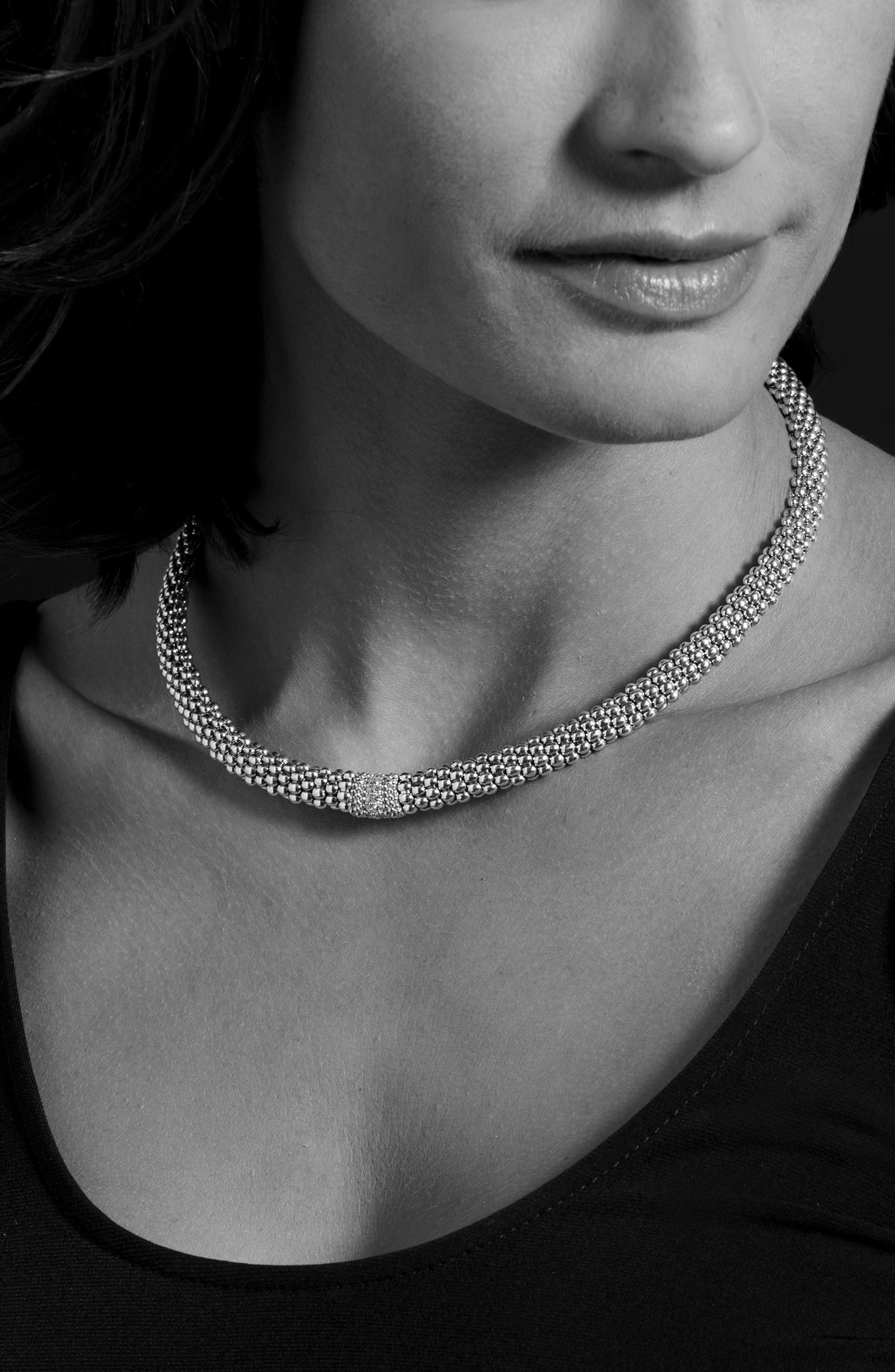 Diamond Lux Station Collar Necklace,                             Alternate thumbnail 2, color,                             Silver/ Diamond