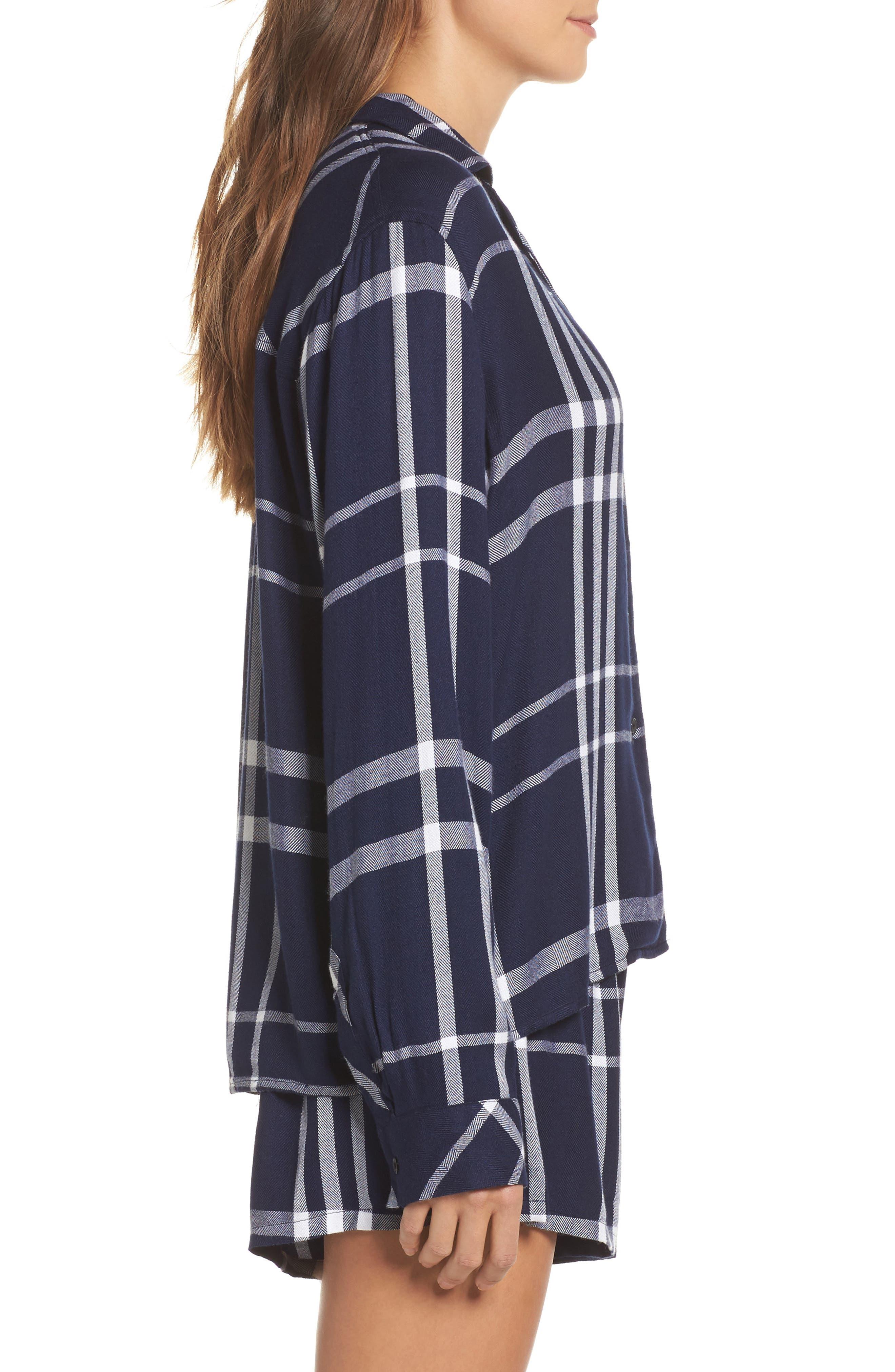 Plaid Short Pajamas,                             Alternate thumbnail 3, color,                             Cadet/ White