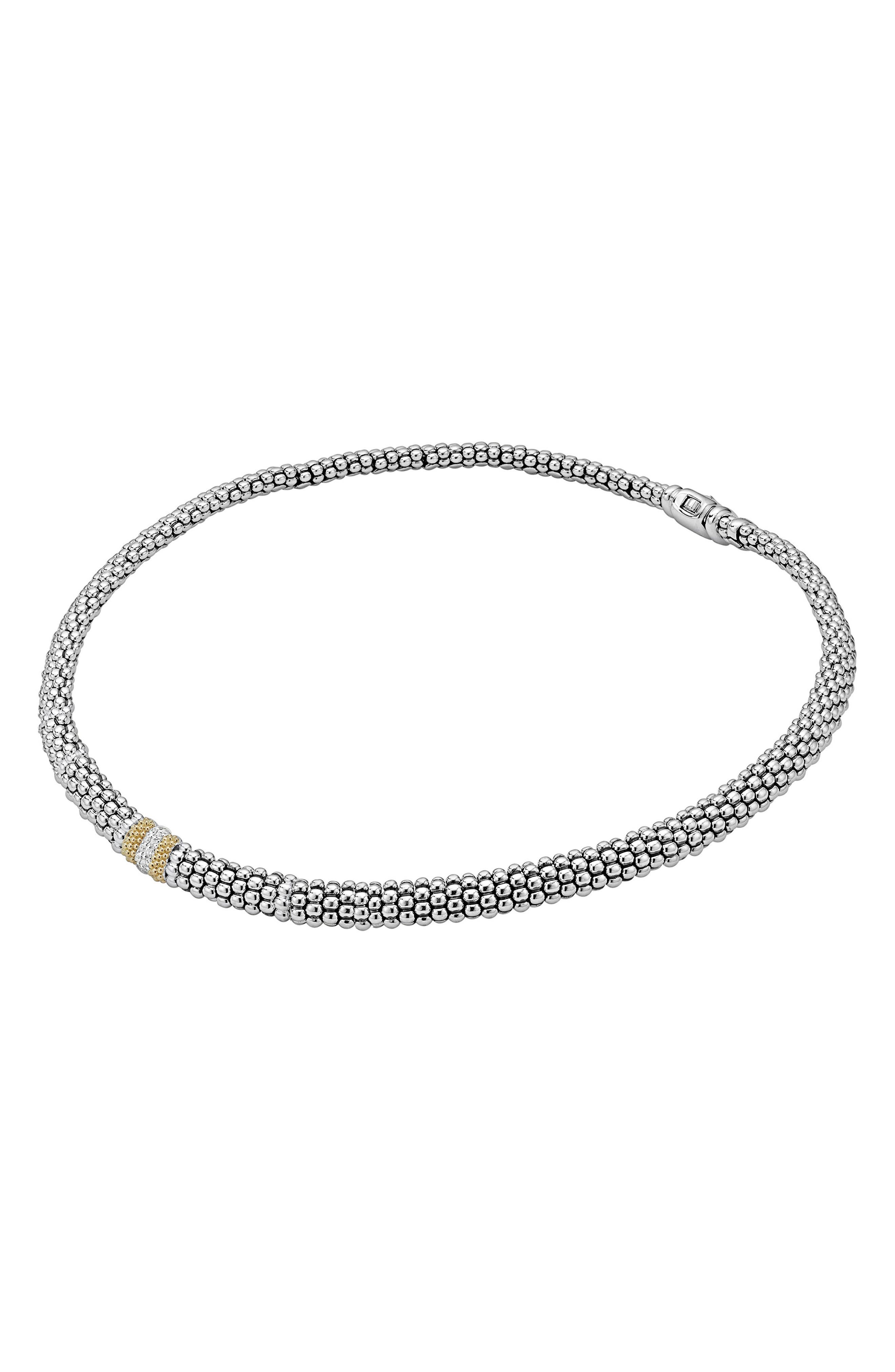 Diamond Lux Station Collar Necklace,                             Alternate thumbnail 5, color,                             Silver/ Diamond