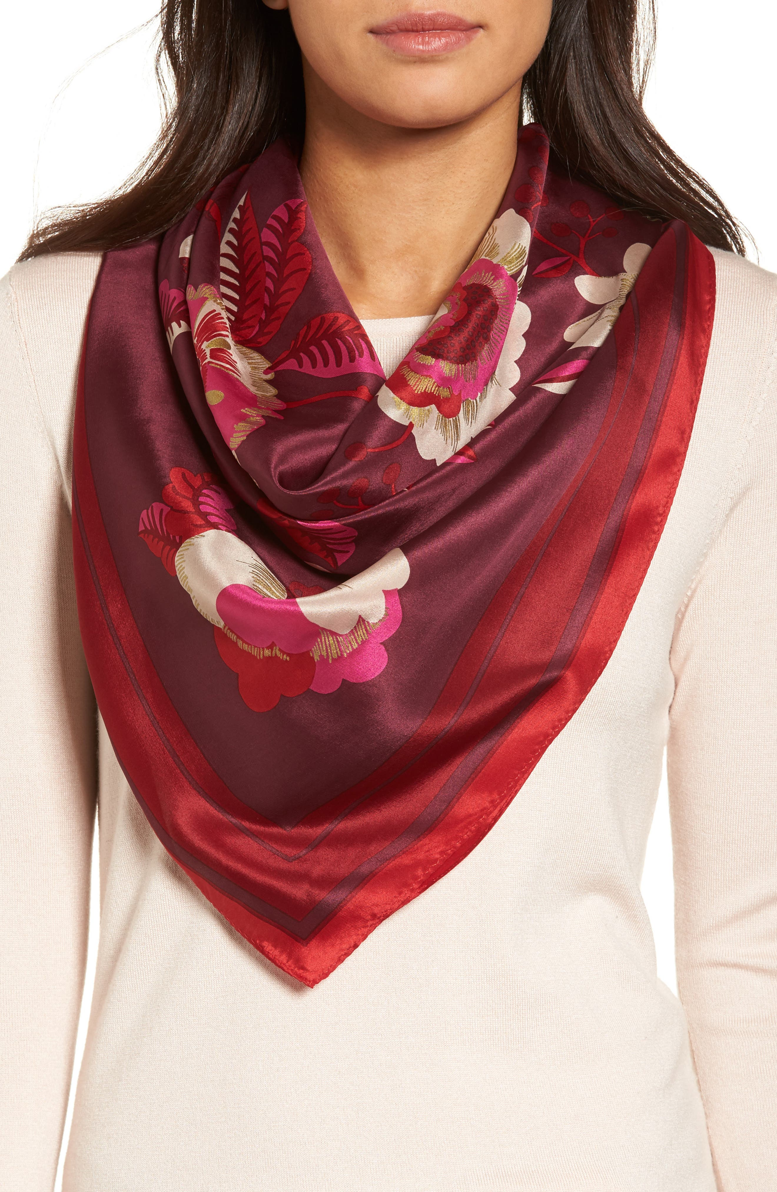Bloomsbury Square Silk Scarf,                             Main thumbnail 1, color,                             Currant