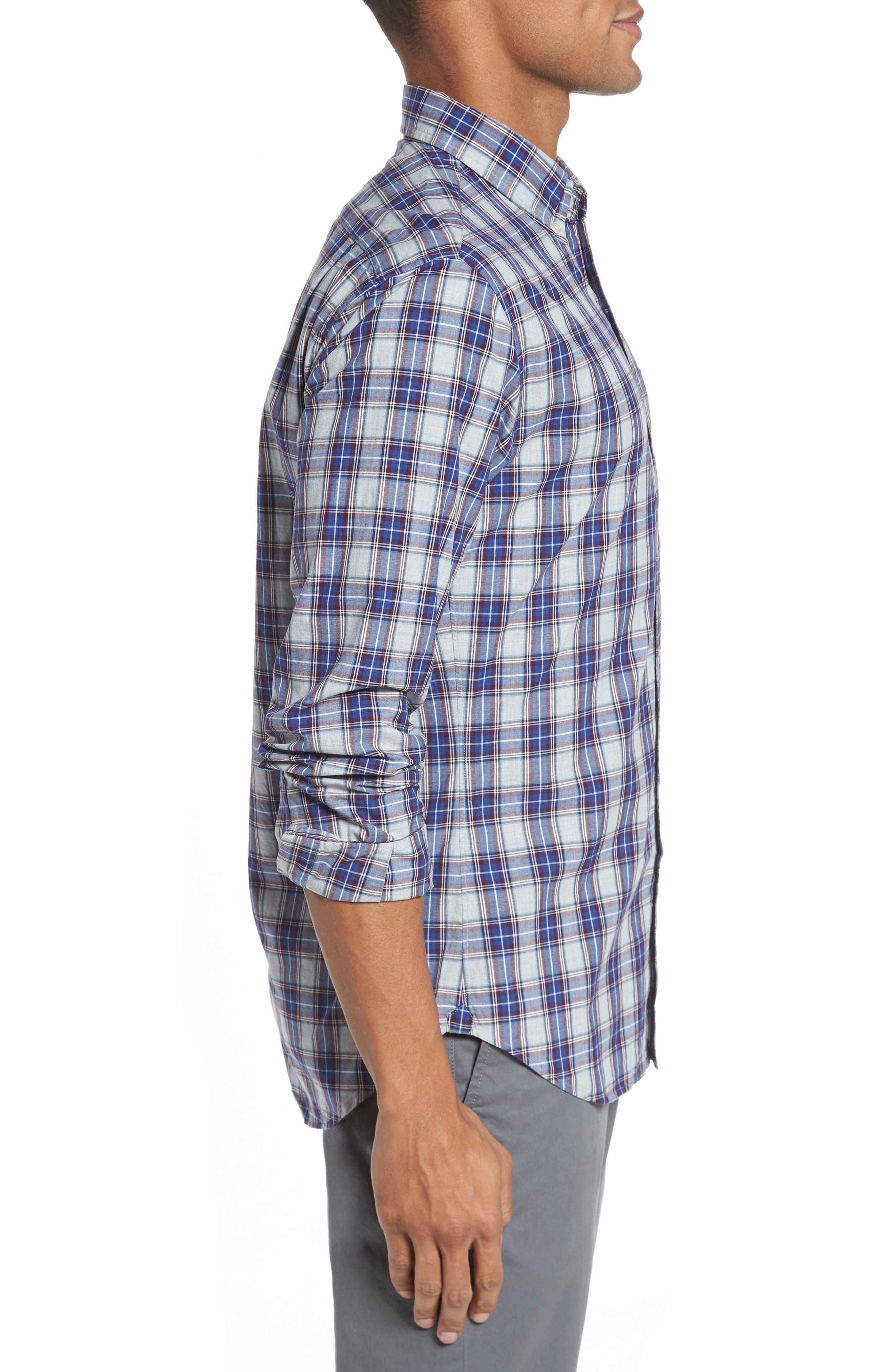 Slim Fit Washed Plaid Sport Shirt,                             Alternate thumbnail 3, color,                             Fallen Leaf Plaid