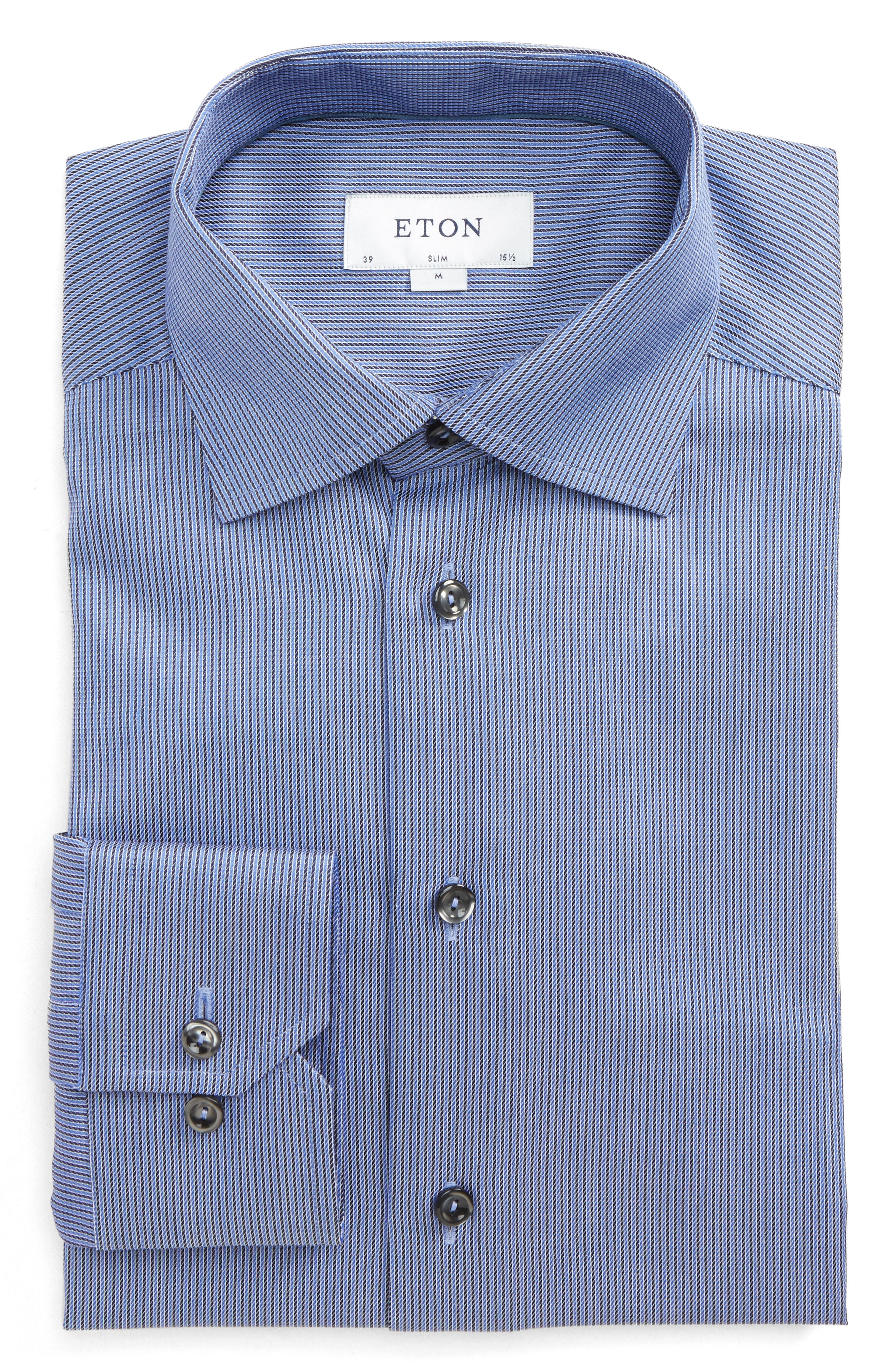 Slim Fit Stripe Dress Shirt,                         Main,                         color, Navy