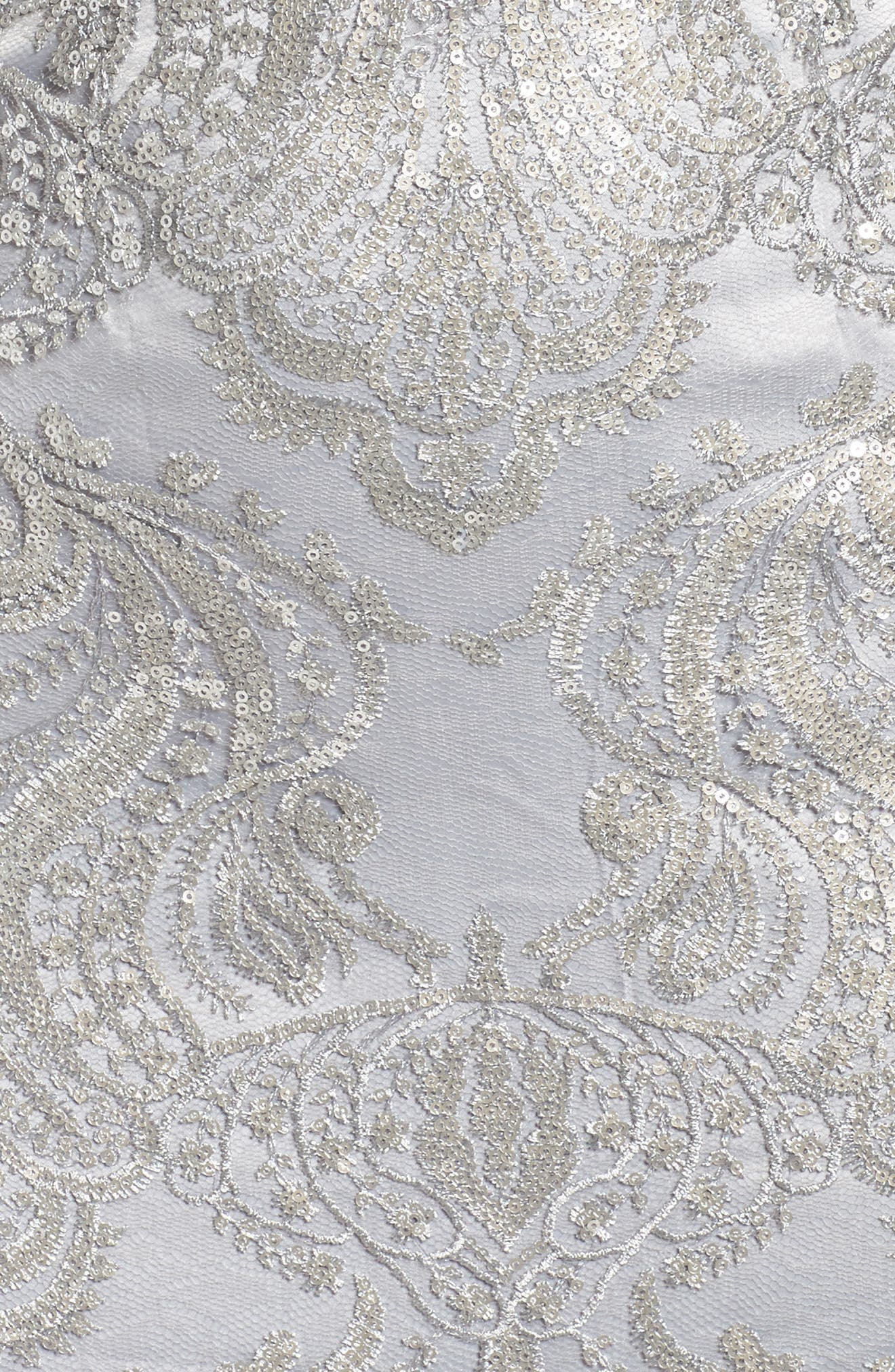 Sequin Illusion Sheath Dress,                             Alternate thumbnail 5, color,                             Silver