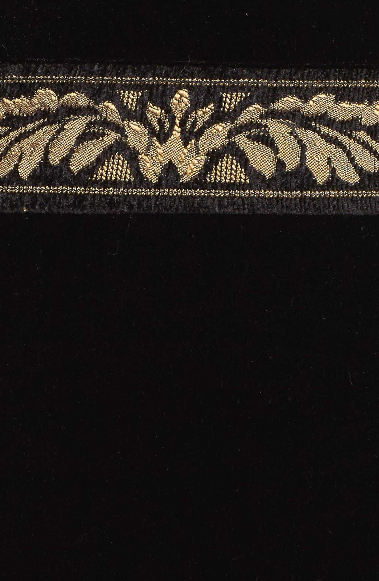 Lace Trim Velvet Gown,                             Alternate thumbnail 5, color,                             Black/ Gold