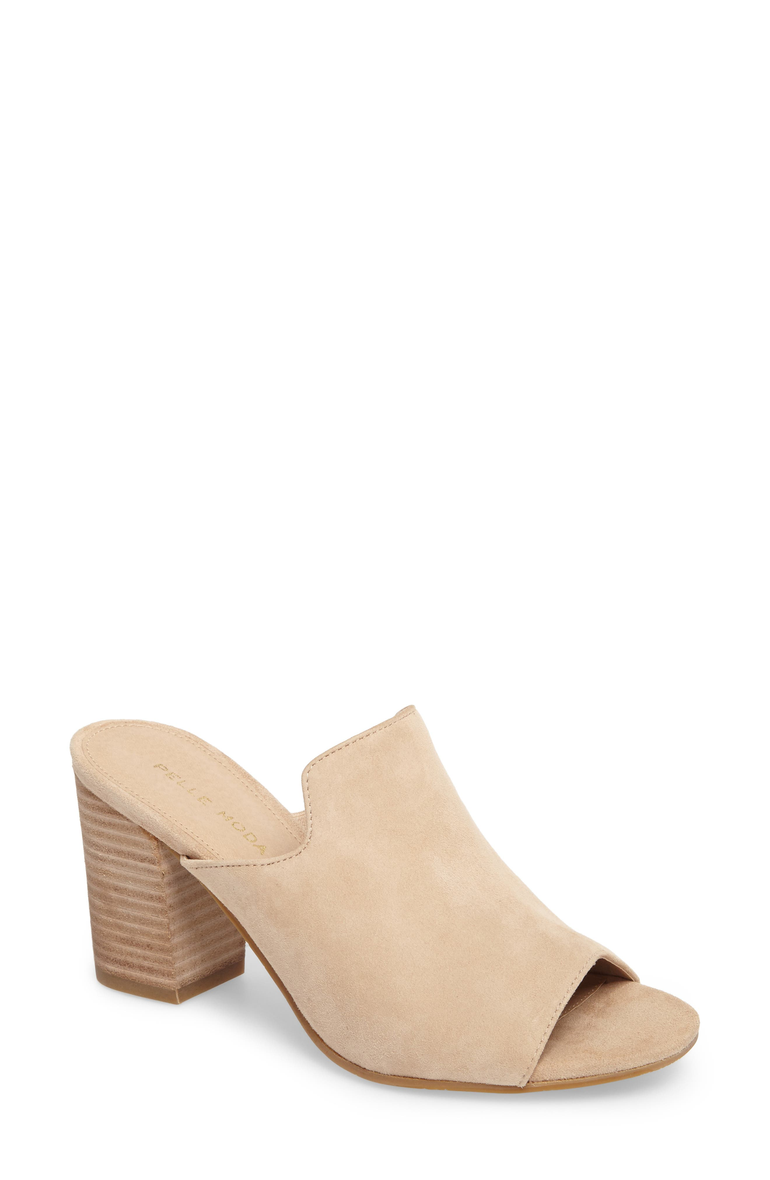Blair Peep Toe Mule,                             Main thumbnail 1, color,                             Sand Leather