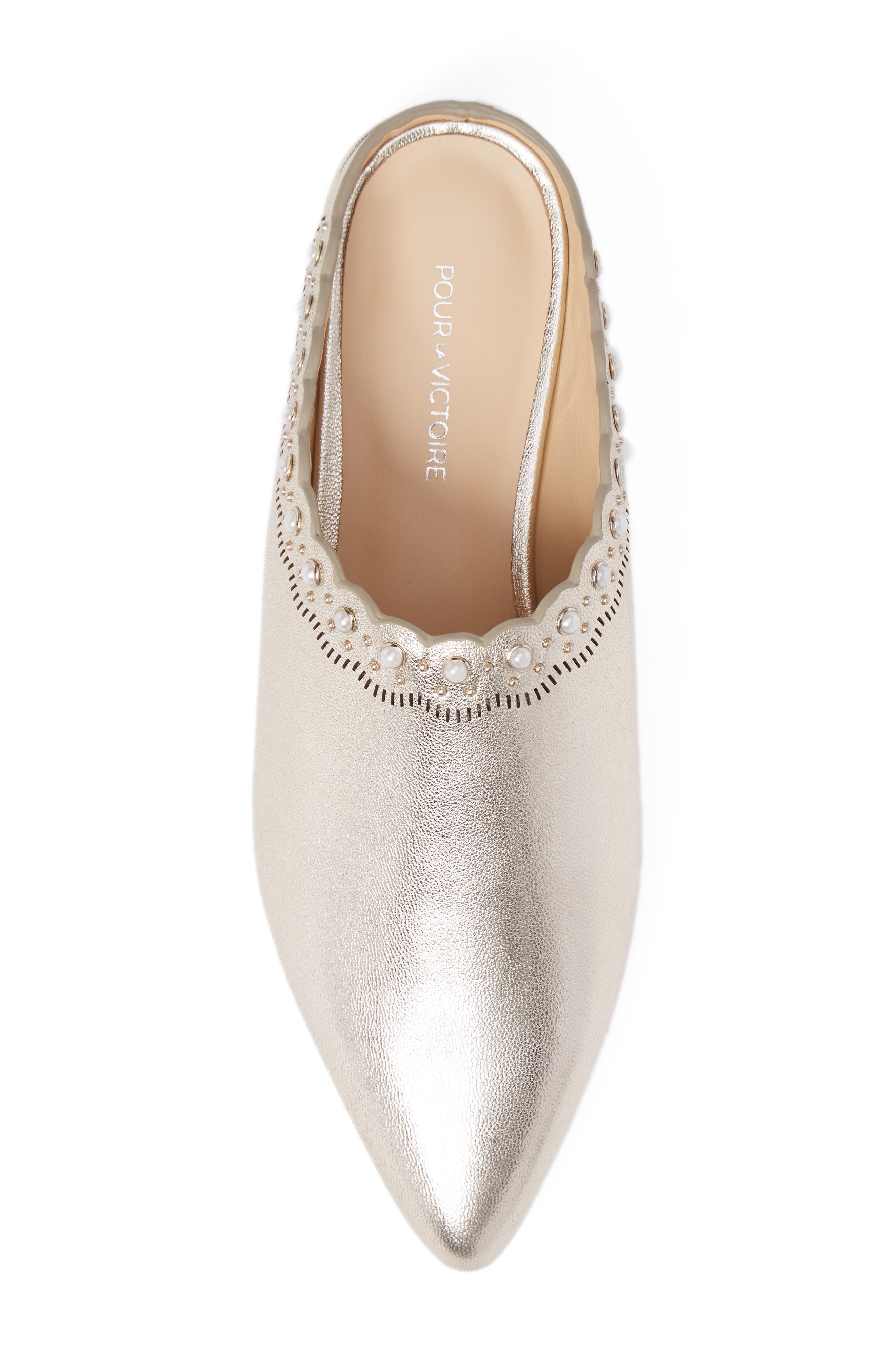 Giselle Mule,                             Alternate thumbnail 5, color,                             Champagne Leather