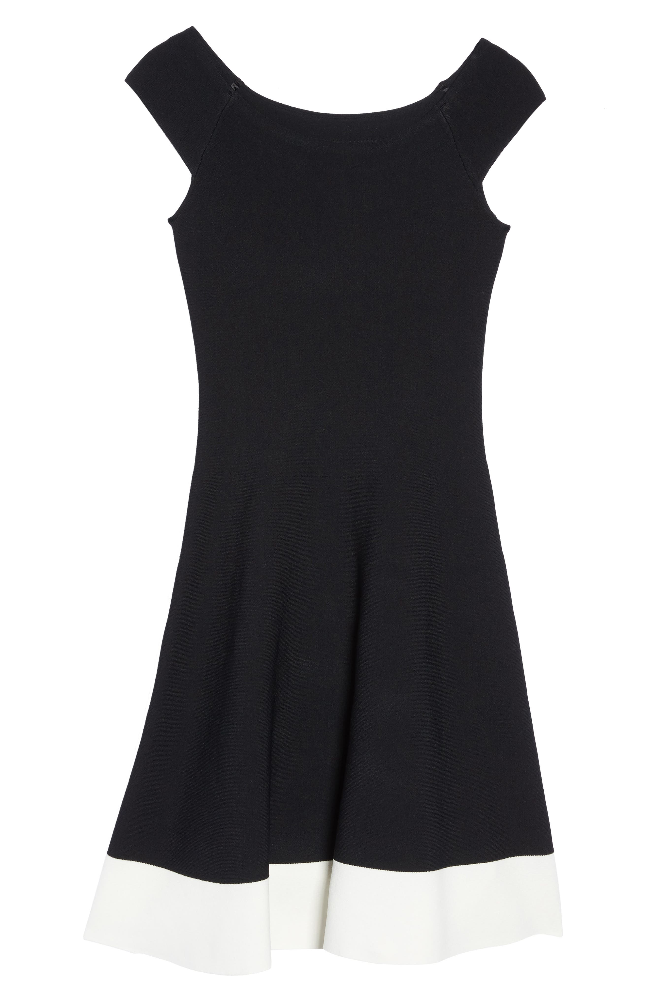 Colorblock Fit & Flare Sweater Dress,                             Alternate thumbnail 7, color,                             Black/ Ivory