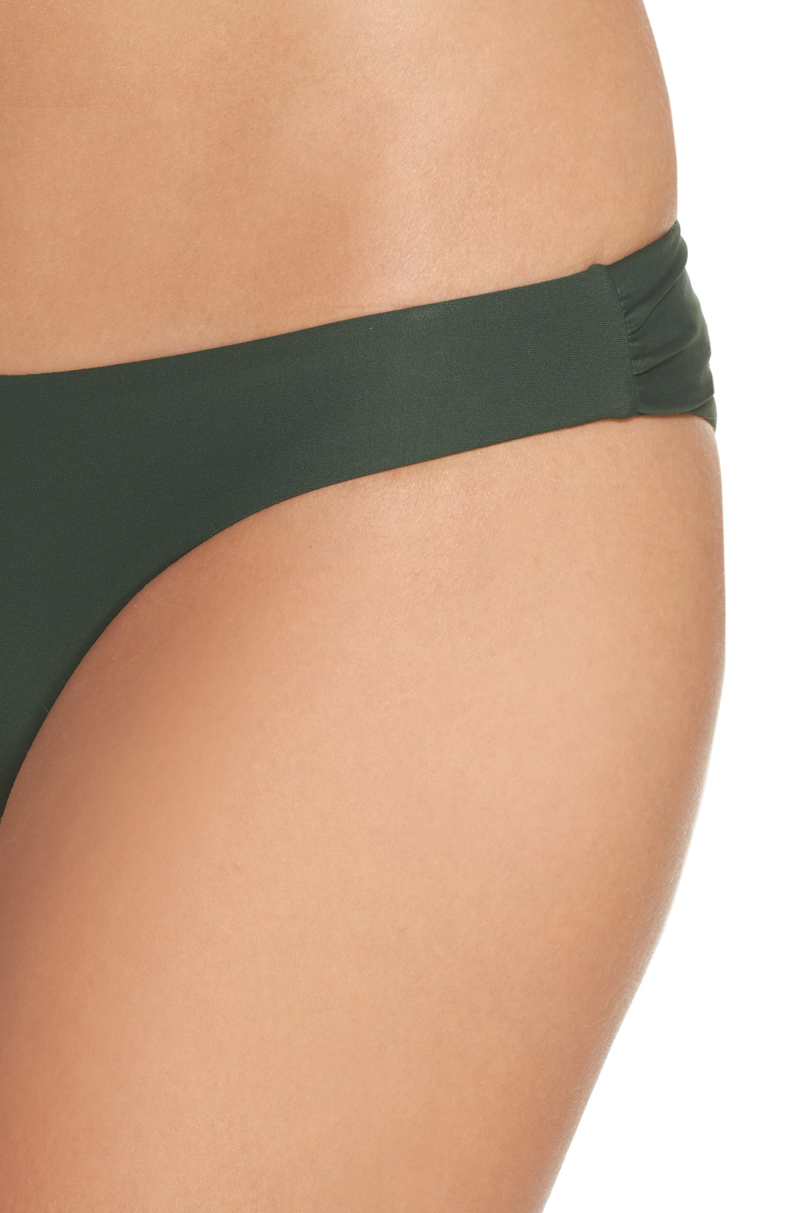 Ruched Bikini Bottoms,                             Alternate thumbnail 4, color,                             Army