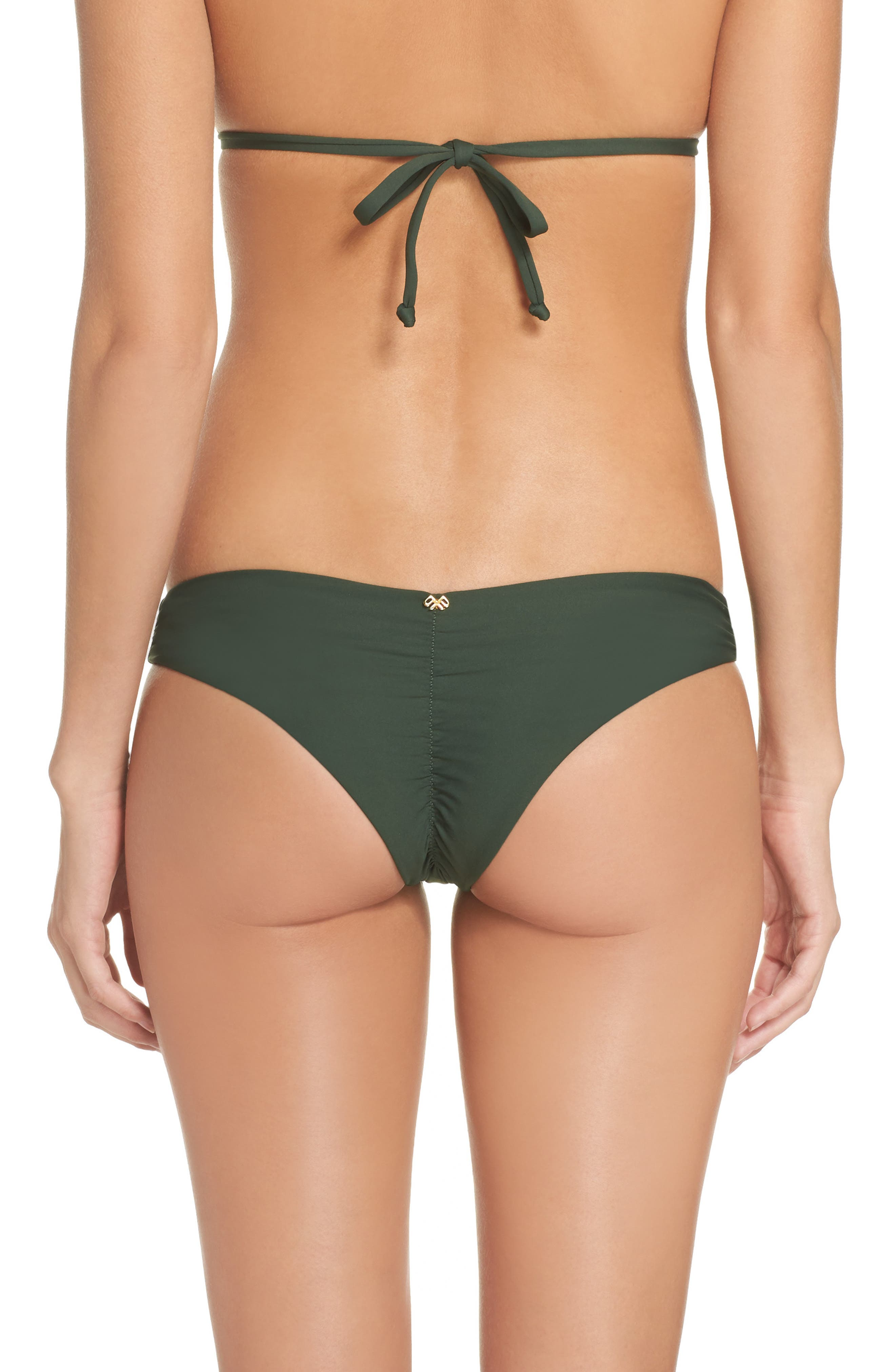 Ruched Bikini Bottoms,                         Main,                         color, Army