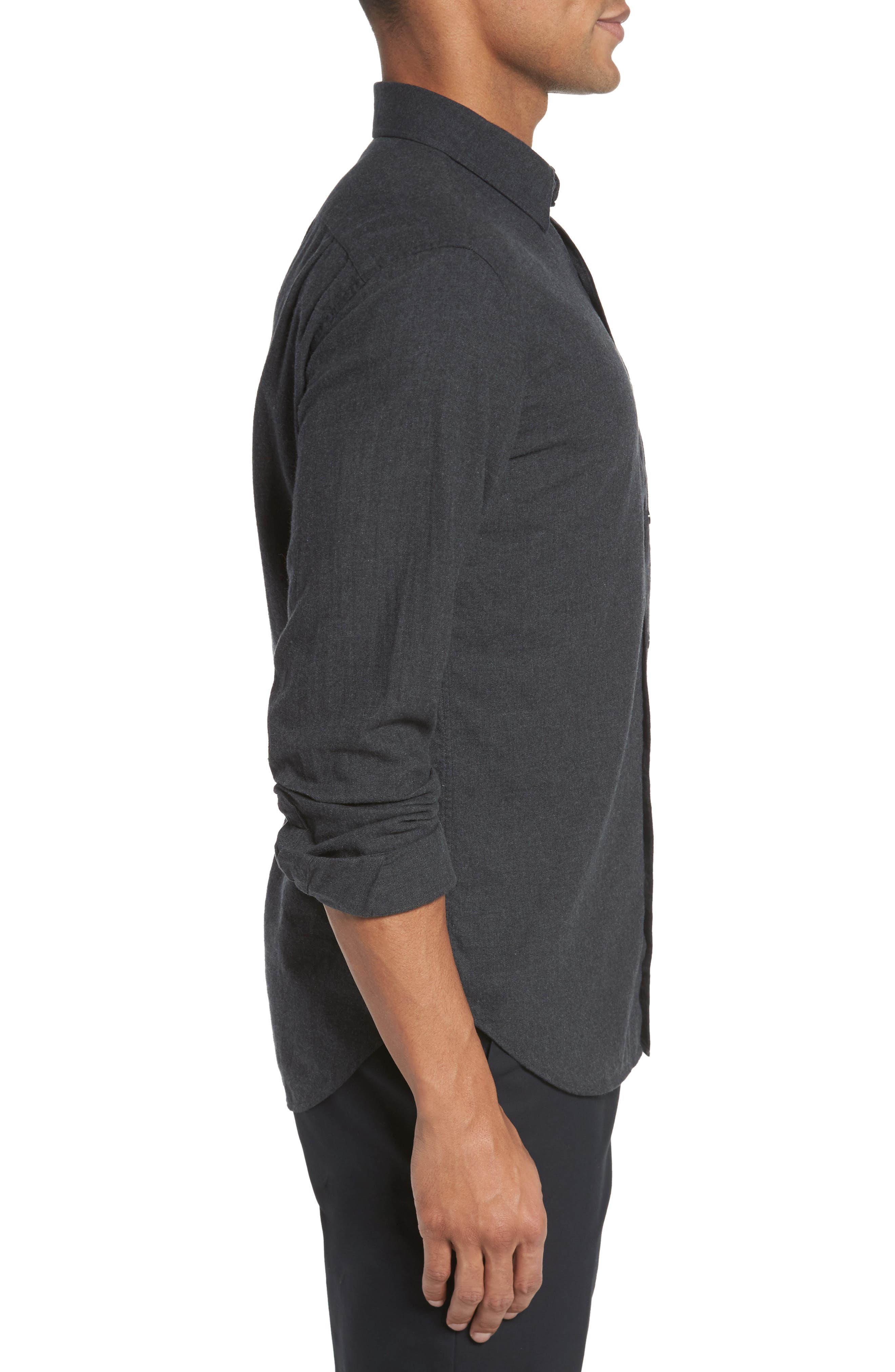 Slim Fit Brushed Twill Sport Shirt,                             Alternate thumbnail 4, color,                             Heather Charcoal