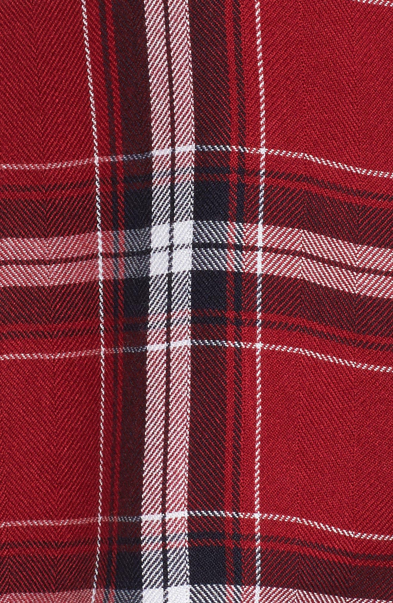 Plaid Short Pajamas,                             Alternate thumbnail 6, color,                             Crimson/ Navy