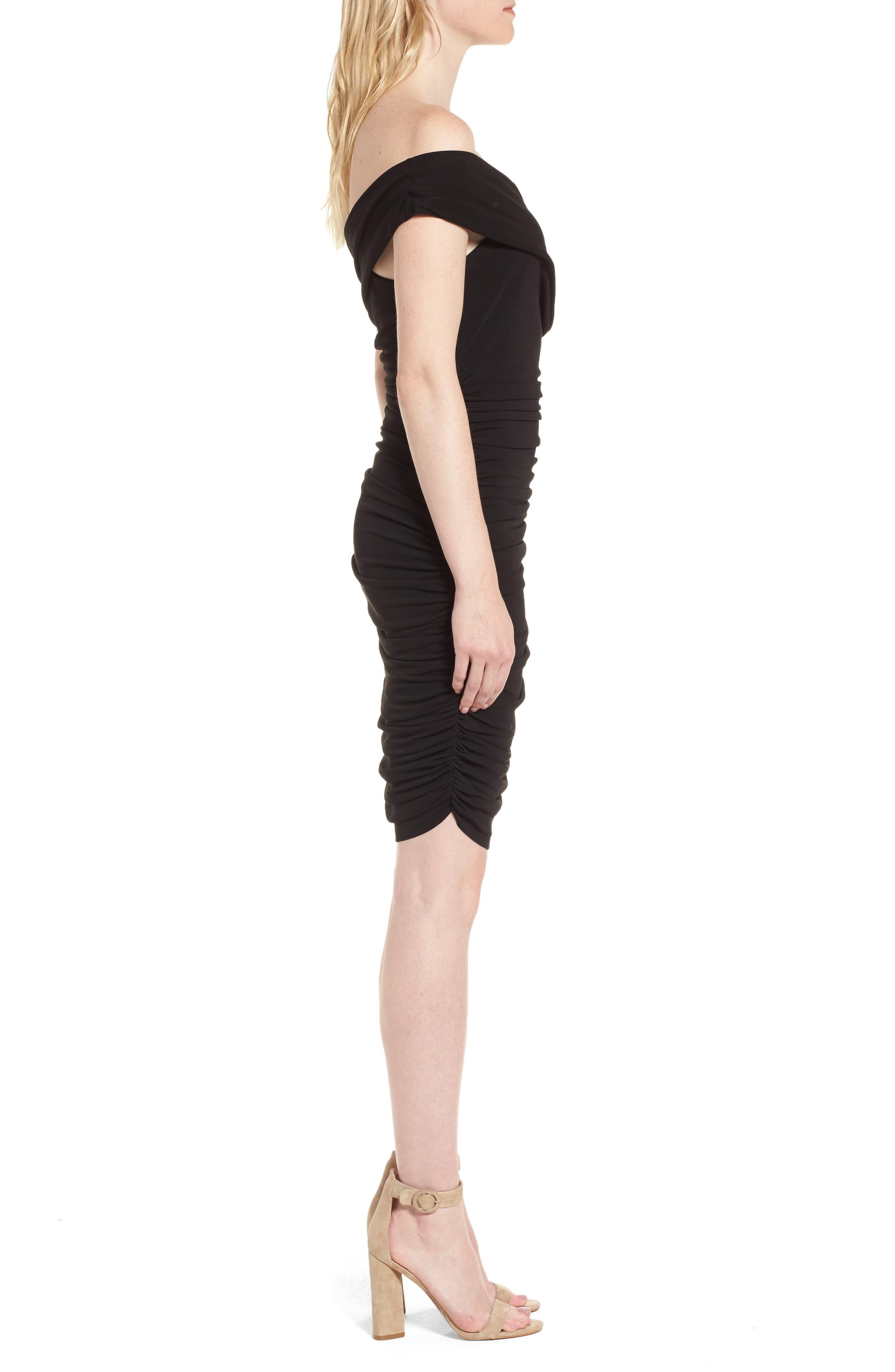 Off the Shoulder Twist Dress,                             Alternate thumbnail 3, color,                             Black