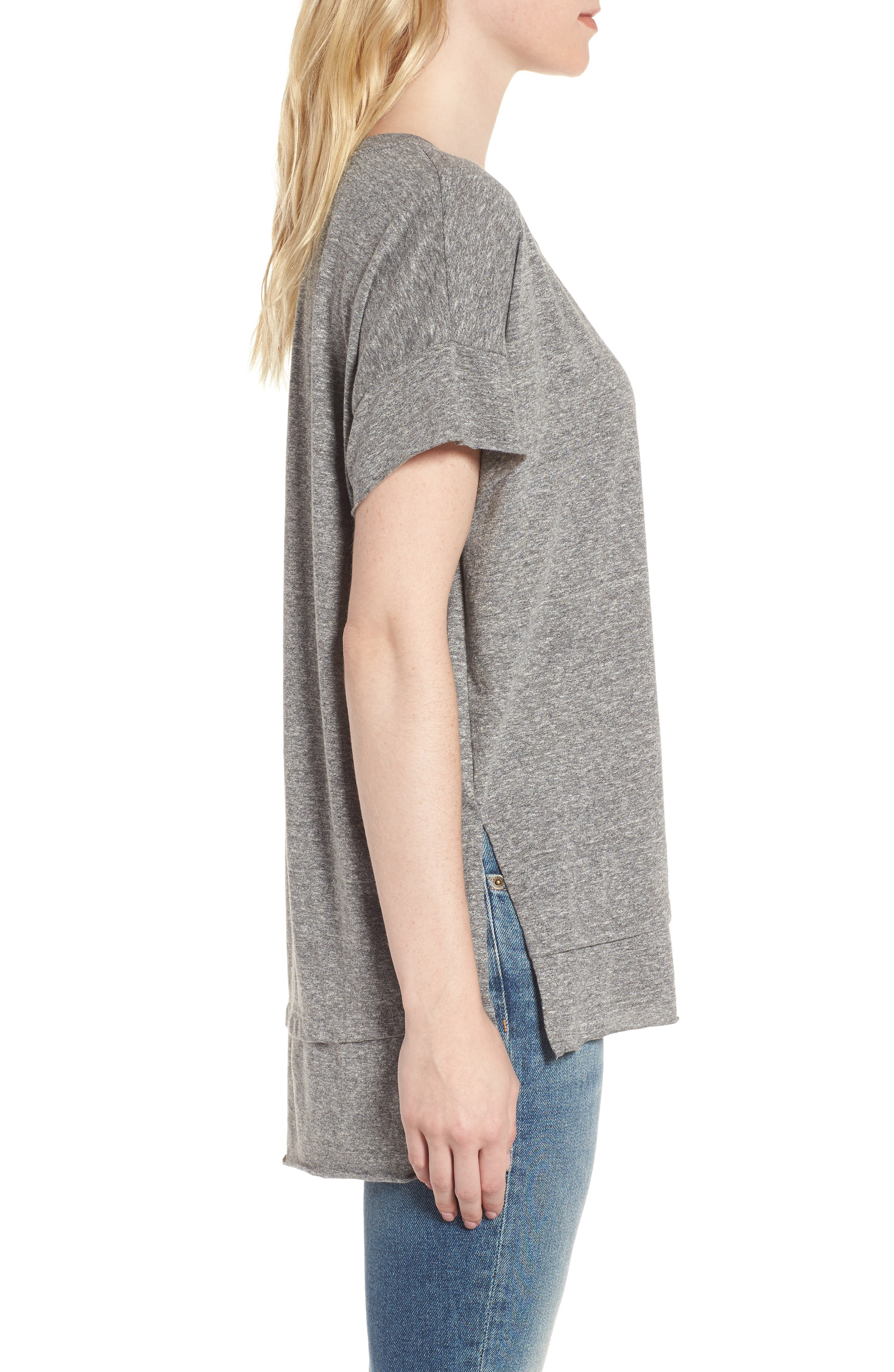 The High/Low Tee,                             Alternate thumbnail 3, color,                             Heather Grey Jersey