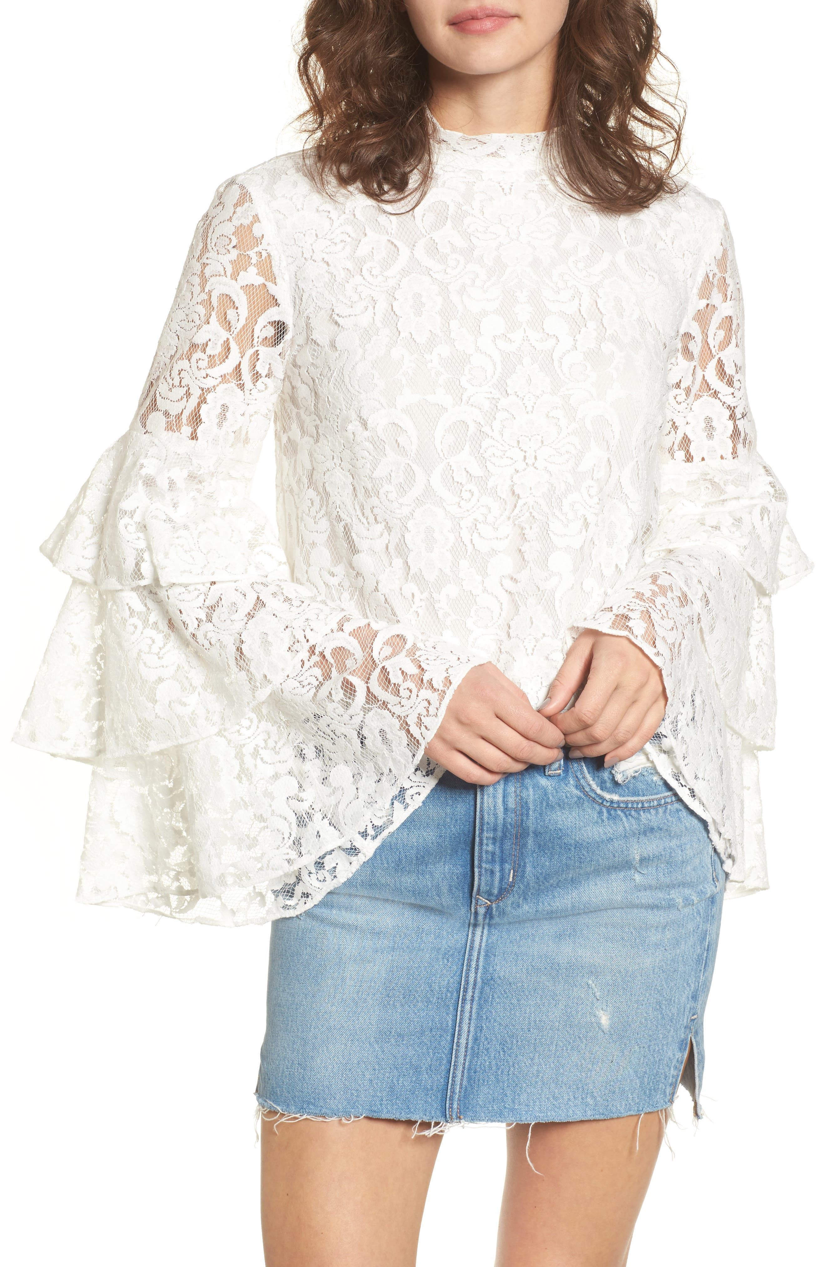 Ruffle Sleeve Lace Top,                             Main thumbnail 1, color,                             White Snow