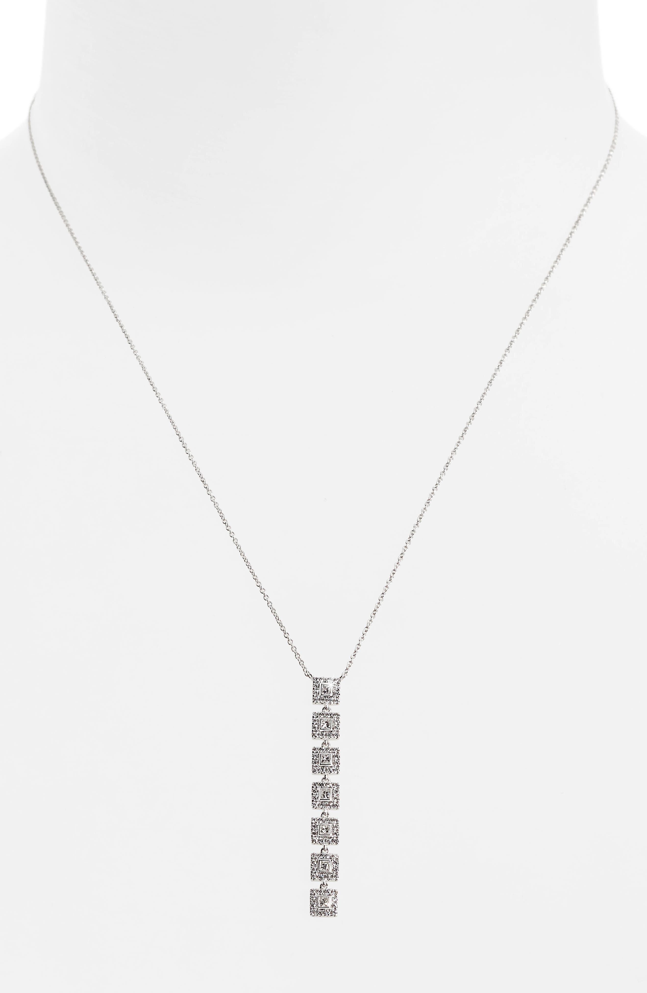 Amara Diamond Pendant Necklace,                             Alternate thumbnail 2, color,                             White Gold