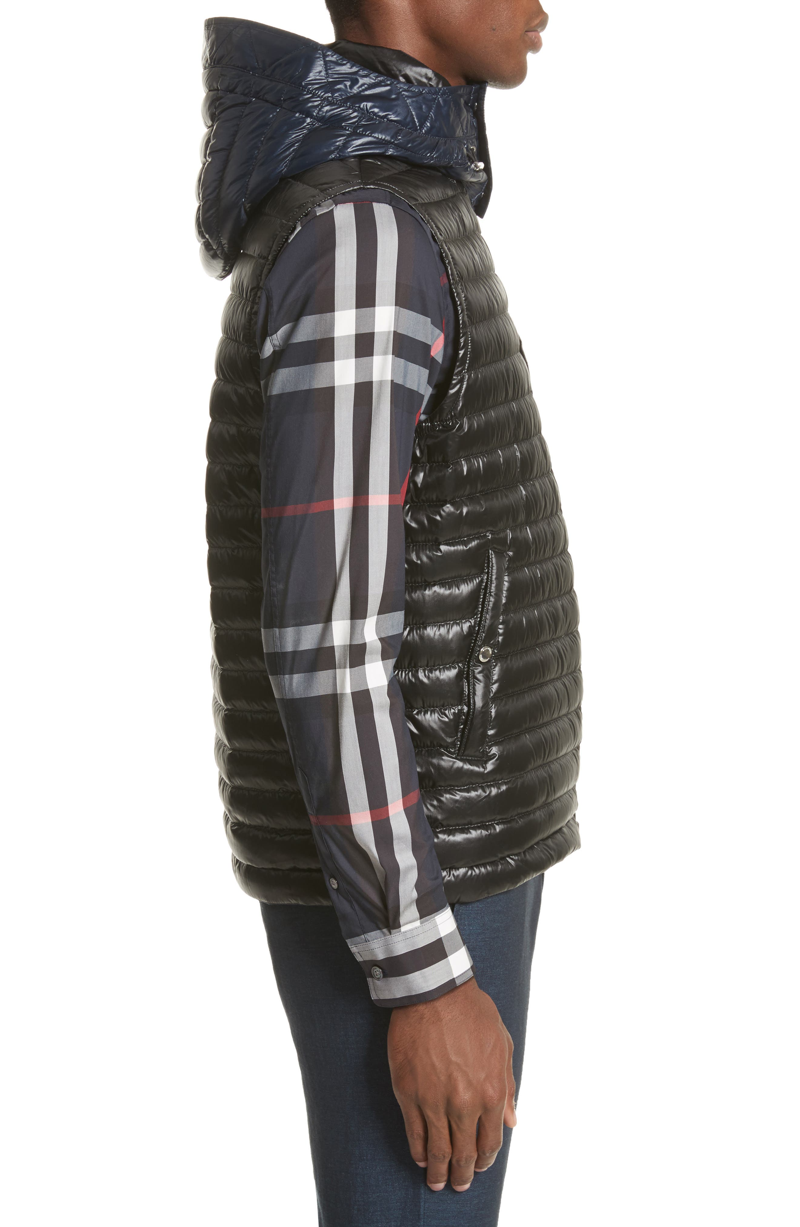 Aldridge Quilted Vest with Removable Hood,                             Alternate thumbnail 3, color,                             Black