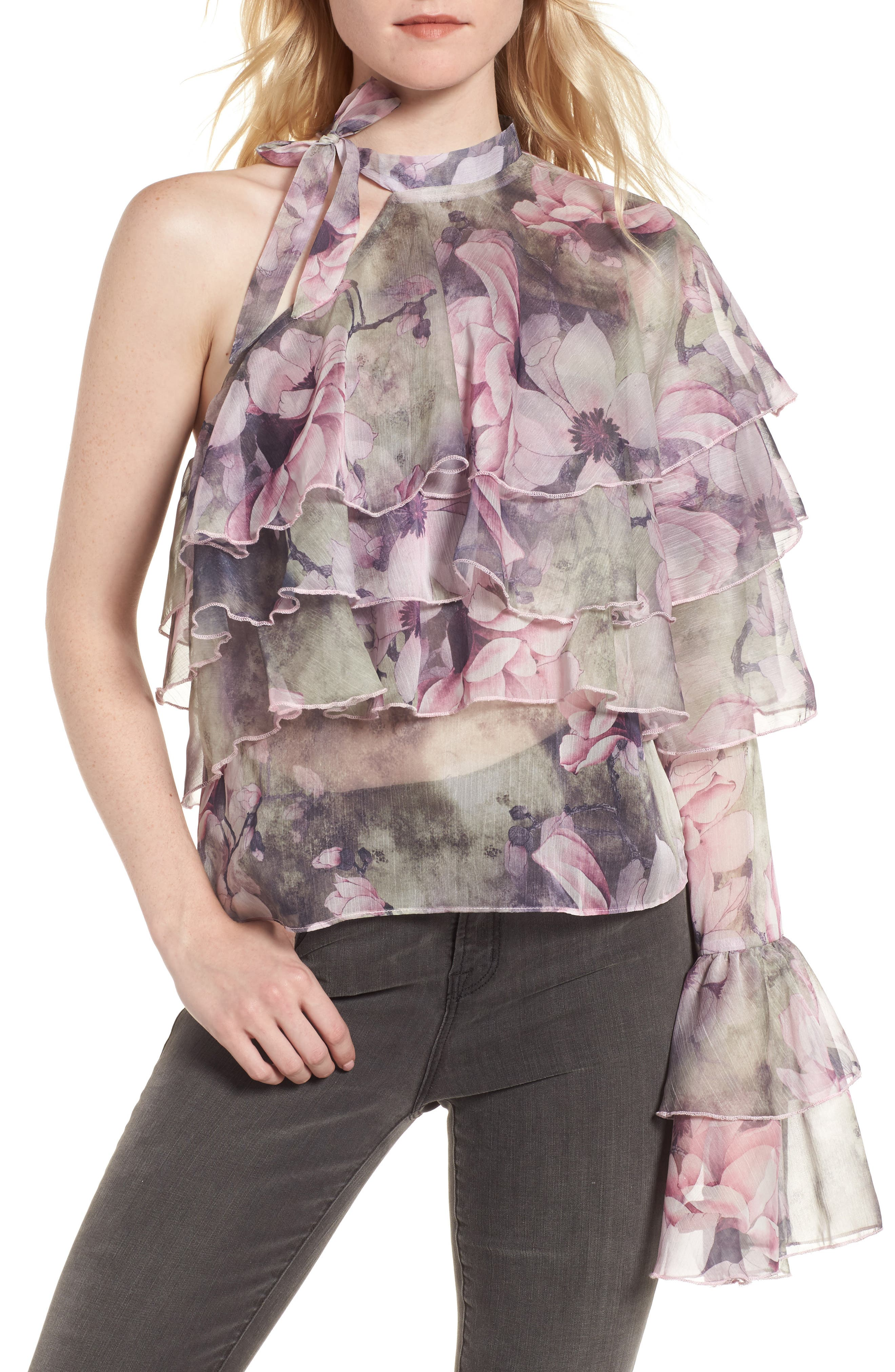 The Hopeless Romance Ruffle Blouse,                         Main,                         color, Pink Floral