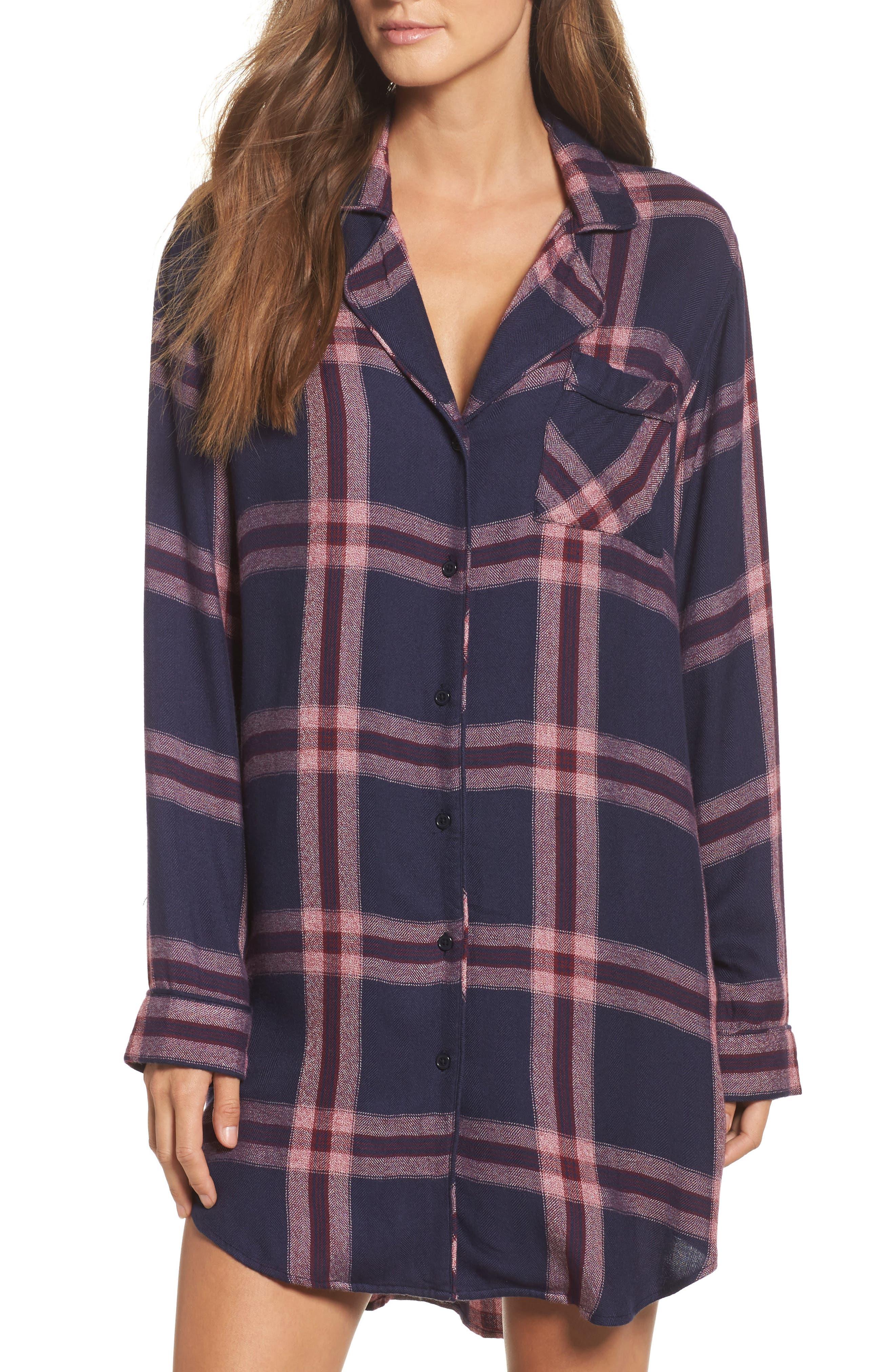 Plaid Sleep Shirt,                         Main,                         color, Admiral/ Cranberry Melange
