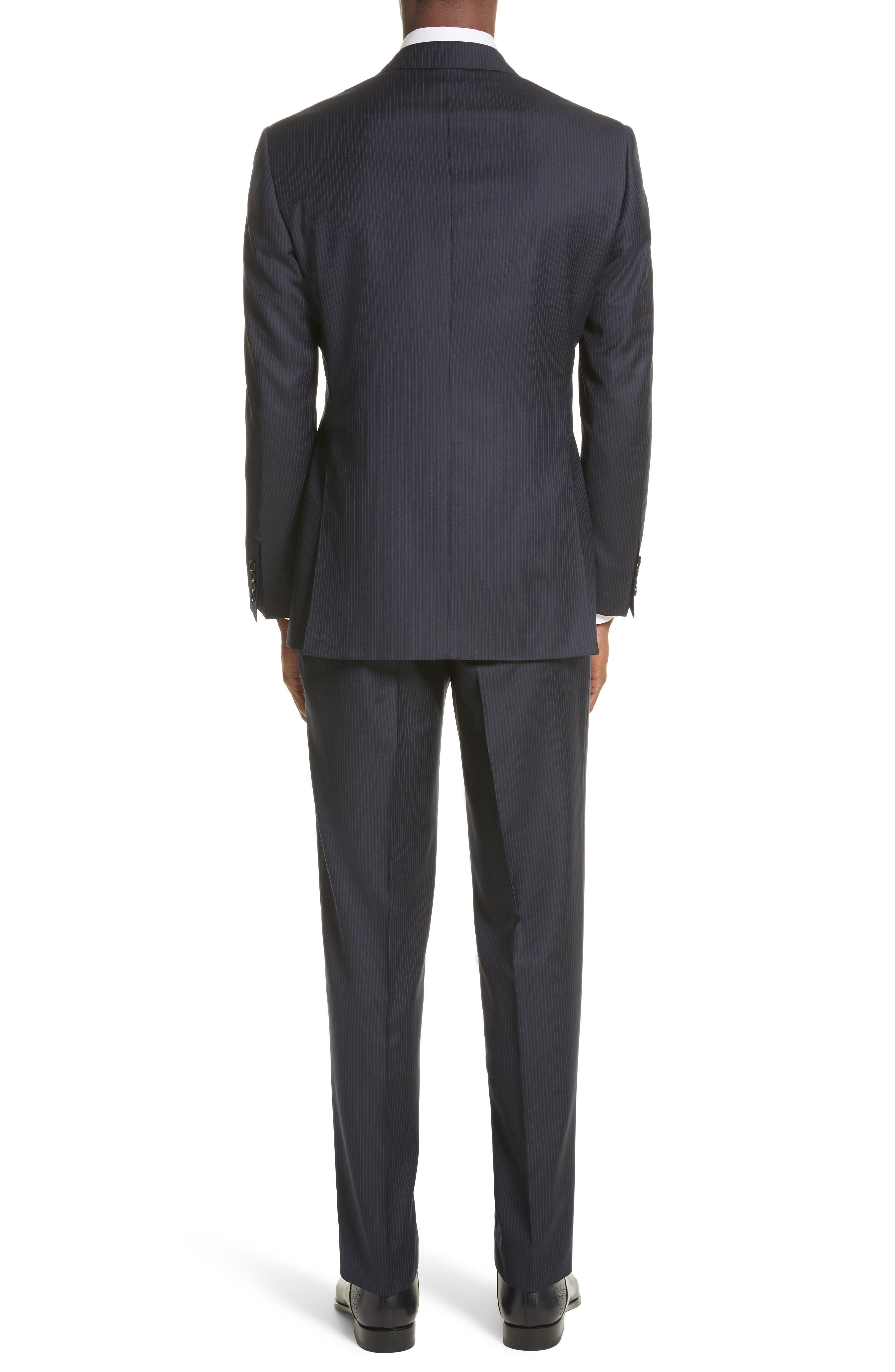 Classic Fit Stripe Wool Suit,                             Alternate thumbnail 2, color,                             Navy