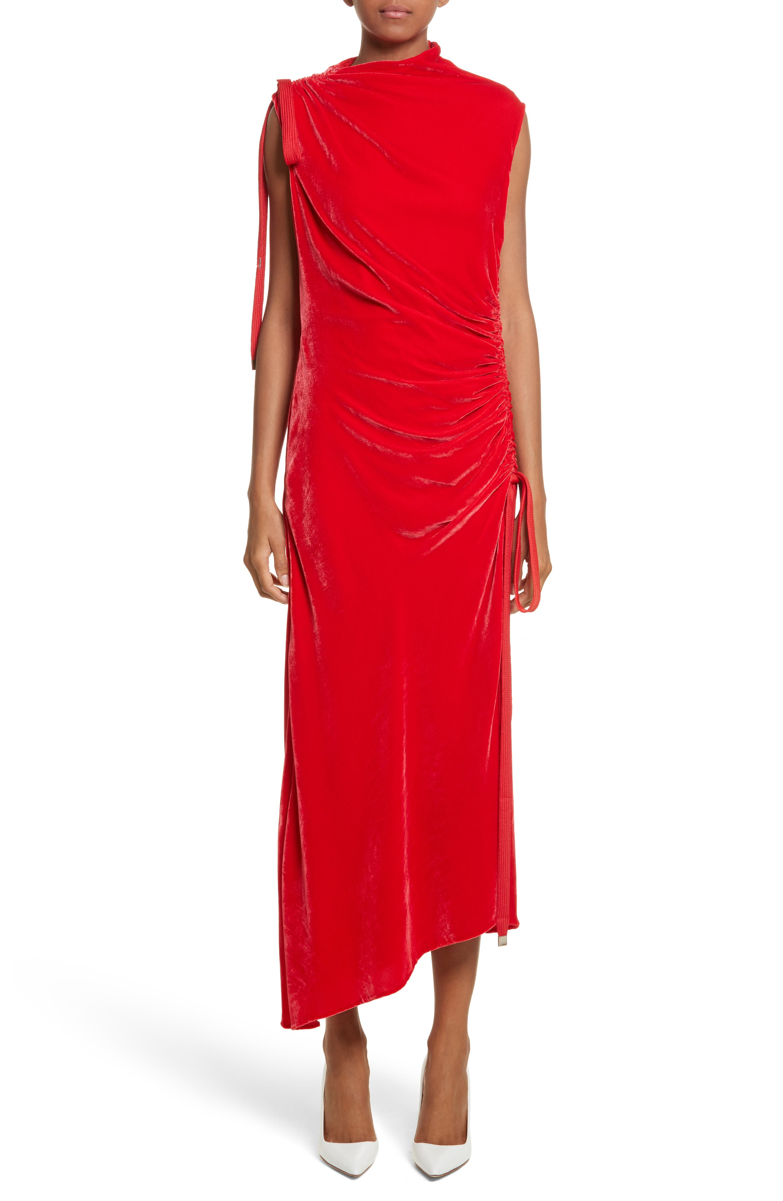Drawstring Velvet Dress,                         Main,                         color, Red