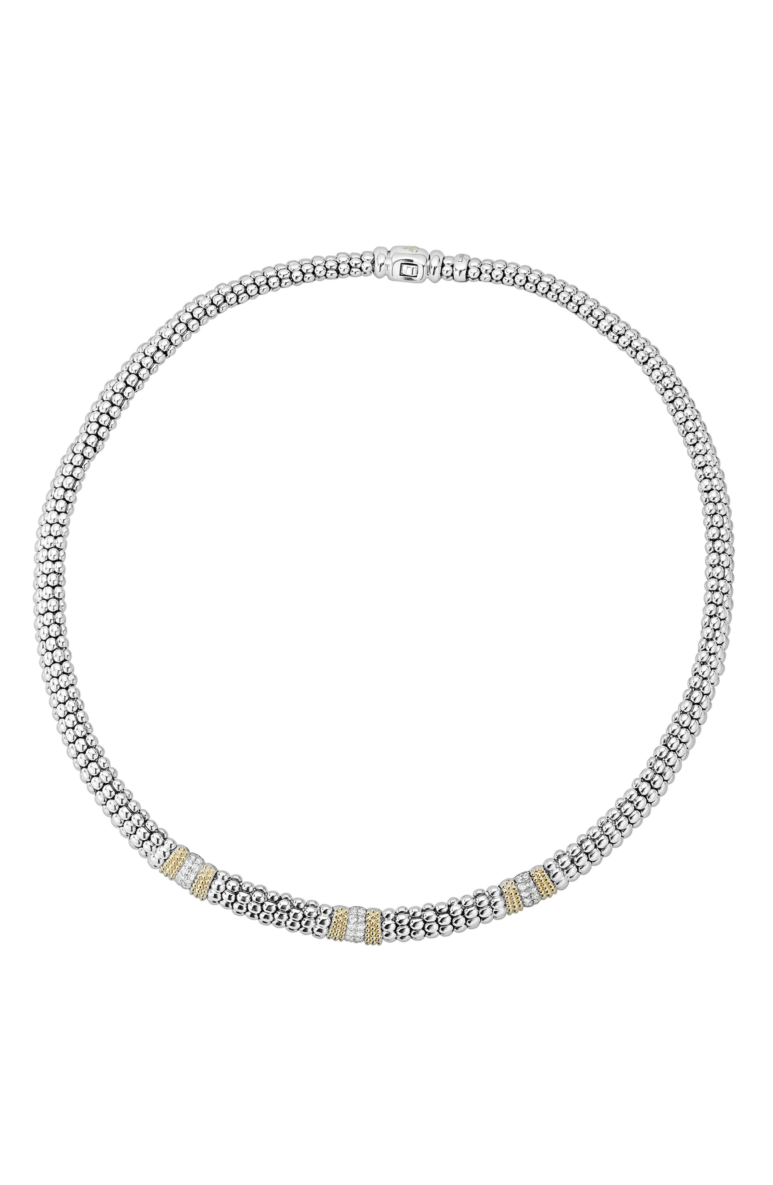 Diamond Lux Triple Station Collar Necklace,                         Main,                         color, Silver/ Diamond