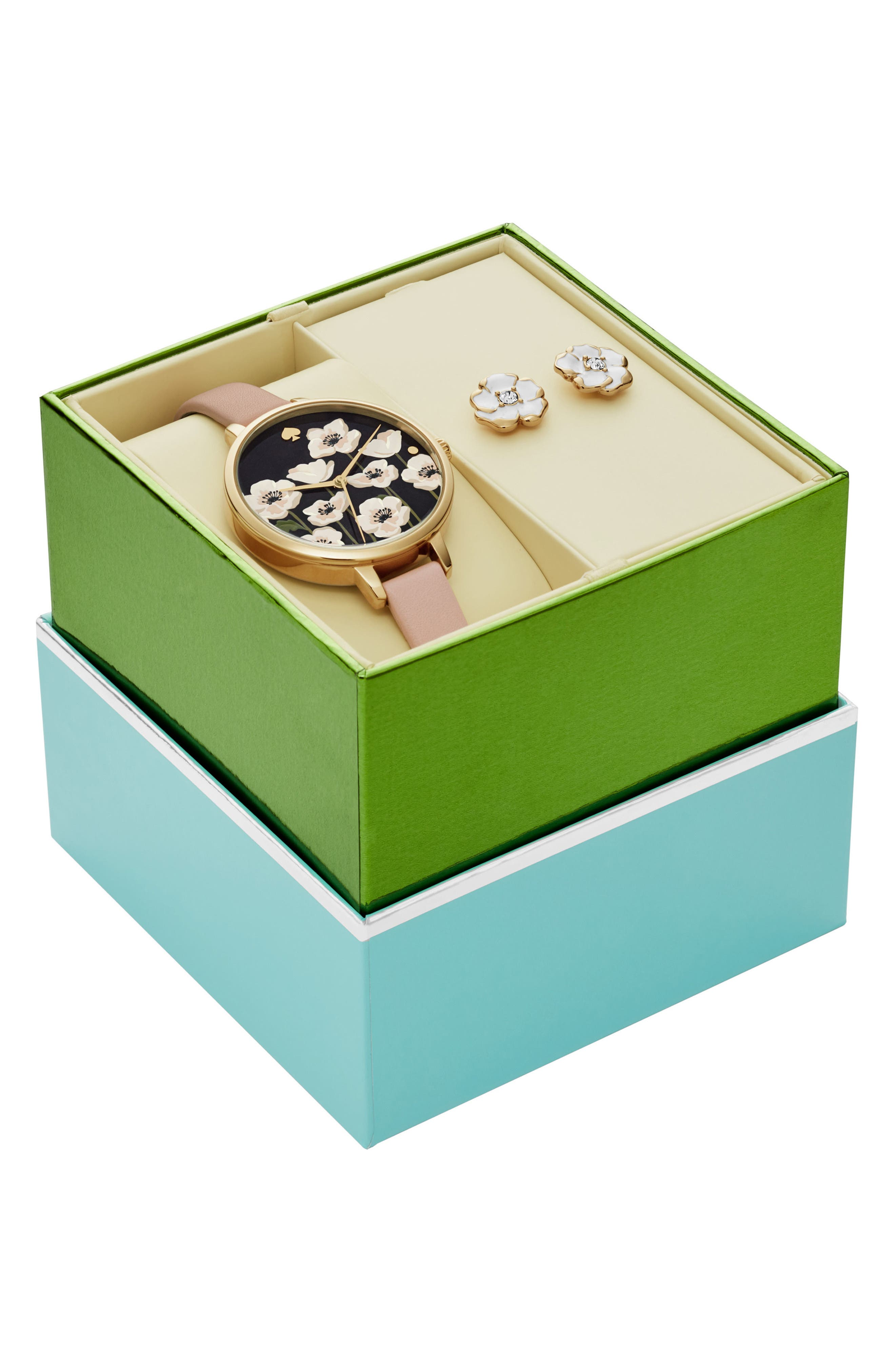 metro poppy watch & earring set, 34mm,                             Alternate thumbnail 2, color,                             Nude/ Gold
