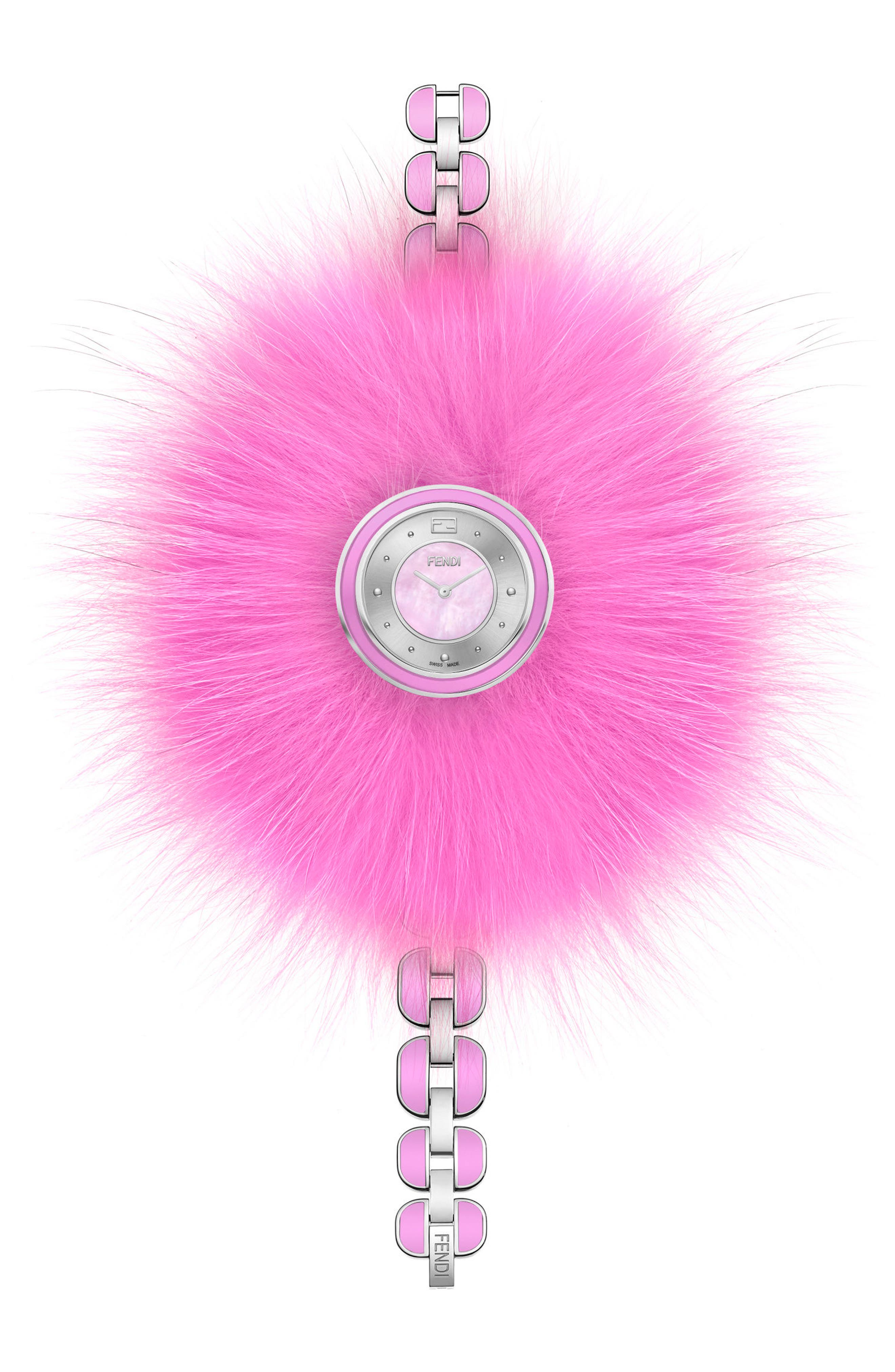 My Way Genuine Fox Fur Bracelet Watch, 36mm,                             Main thumbnail 1, color,                             Pink/ Mop/ Silver