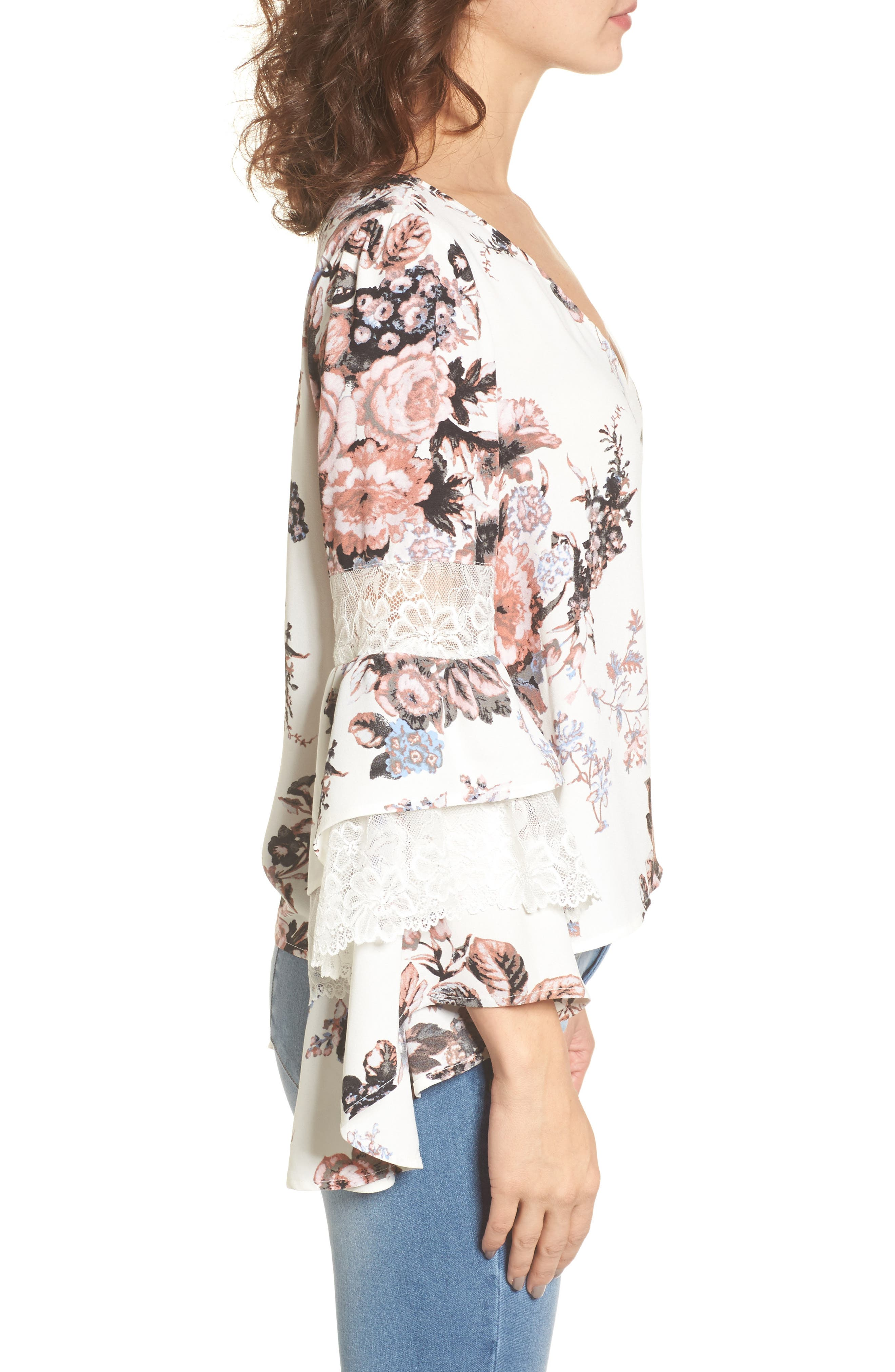 Ruffle Bell Sleeve Top,                             Alternate thumbnail 3, color,                             White Snow Photo Real Floral