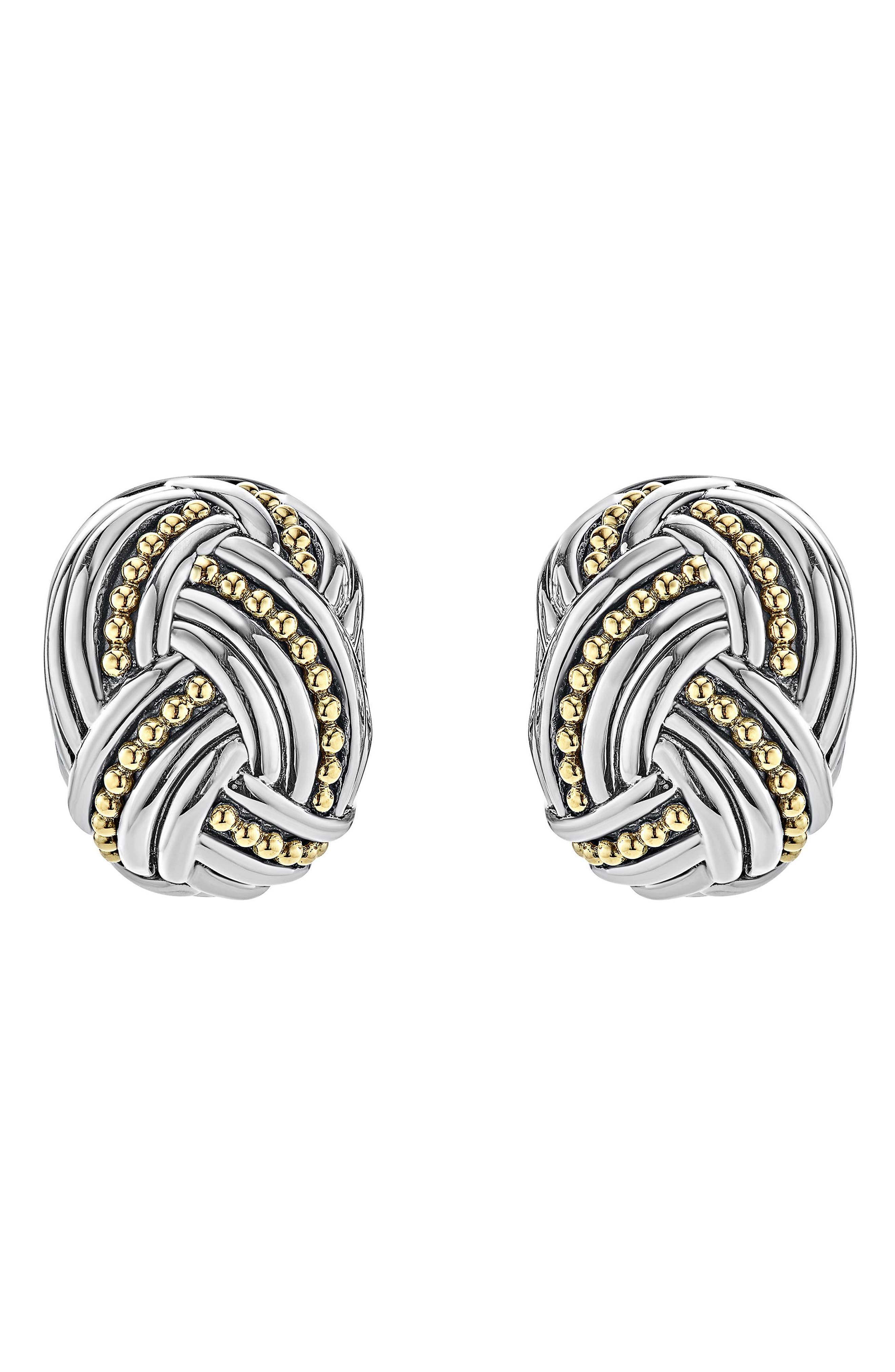Torsade Rectangle Omega Clip Earrings,                             Main thumbnail 1, color,                             Silver/ Gold