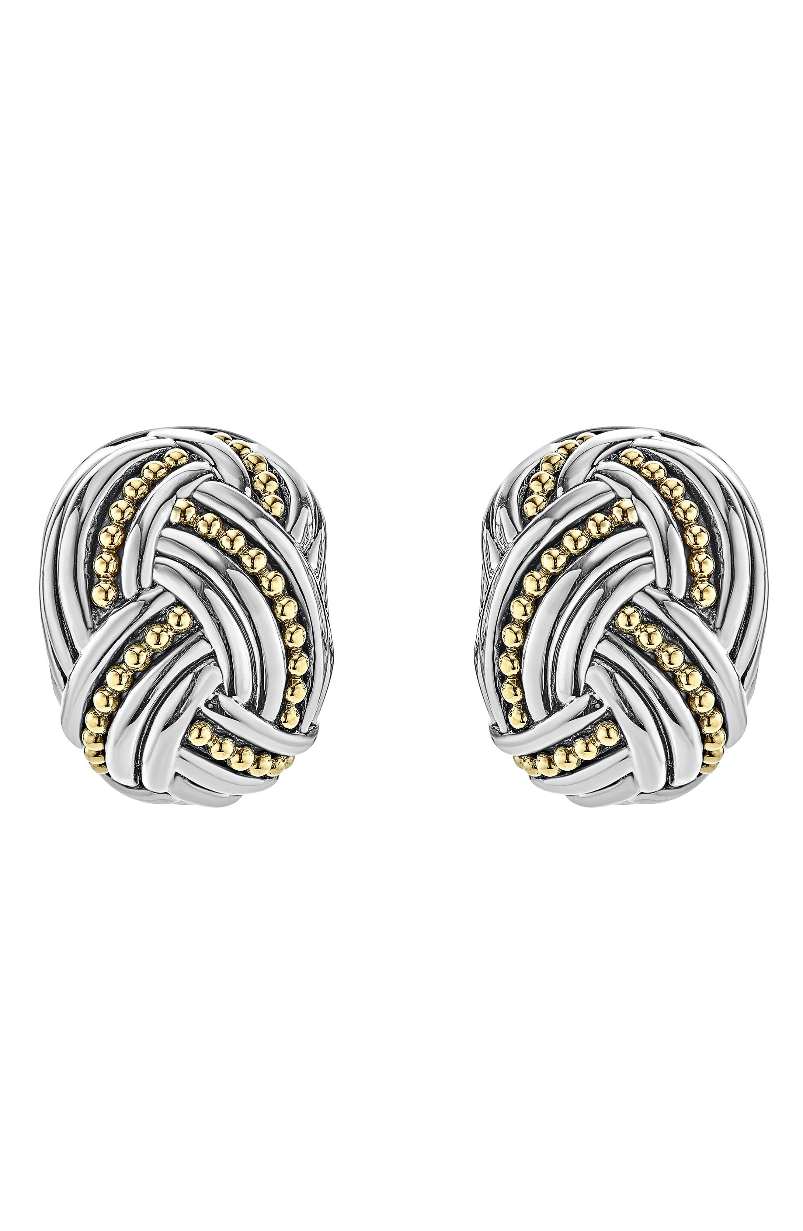 Torsade Rectangle Omega Clip Earrings,                         Main,                         color, Silver/ Gold