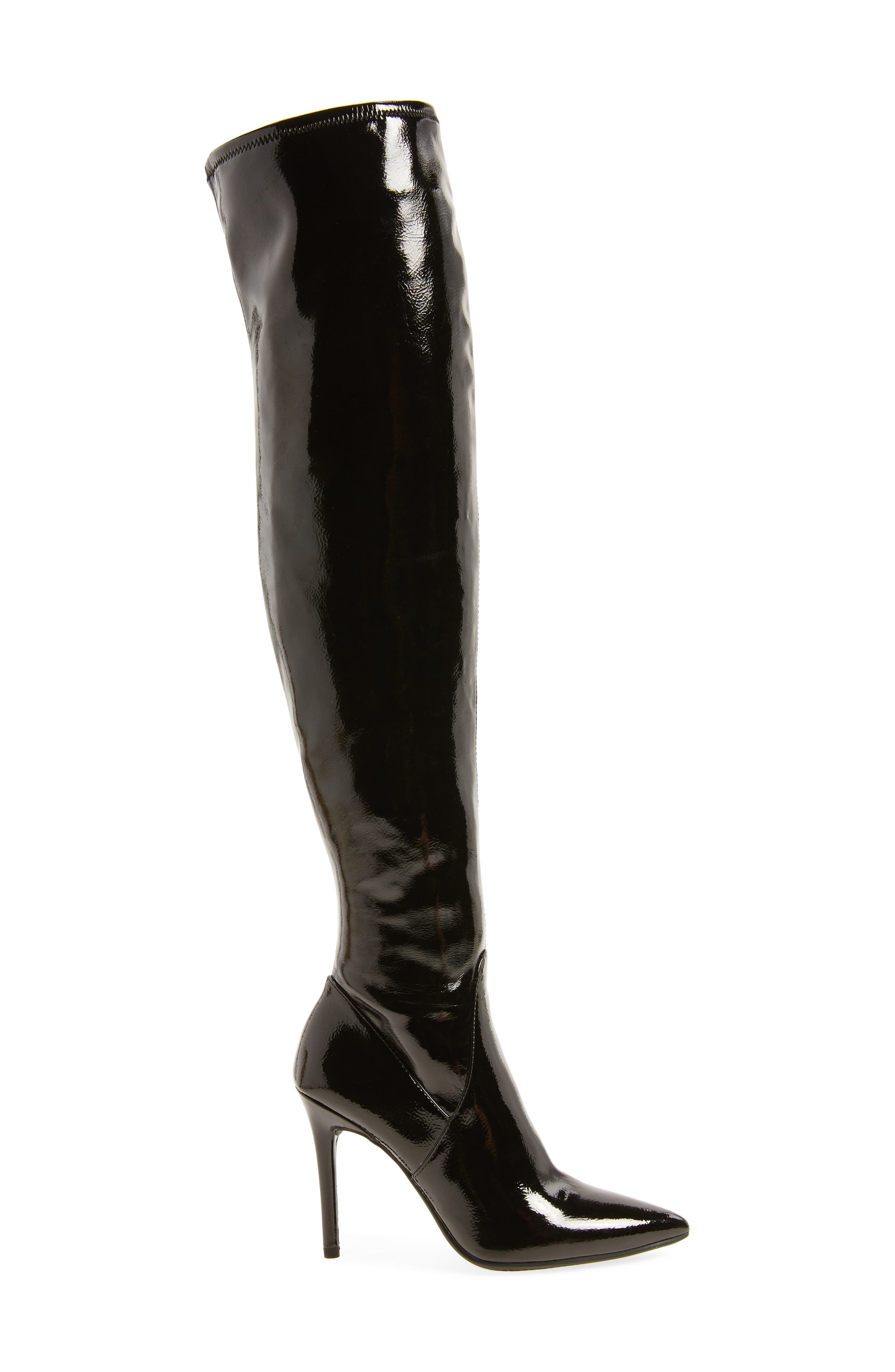 Loring Stretch Over the Knee Boot,                             Alternate thumbnail 3, color,                             Black Crinkle Patent