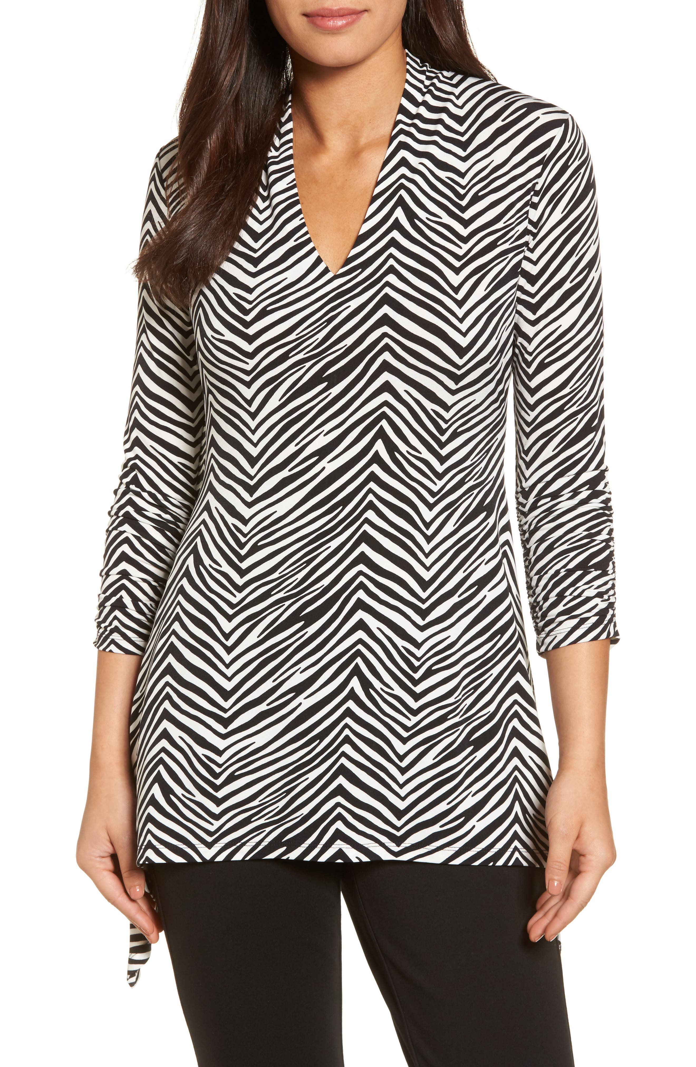 Alternate Image 1 Selected - Chaus Zebra Print Ruched Top