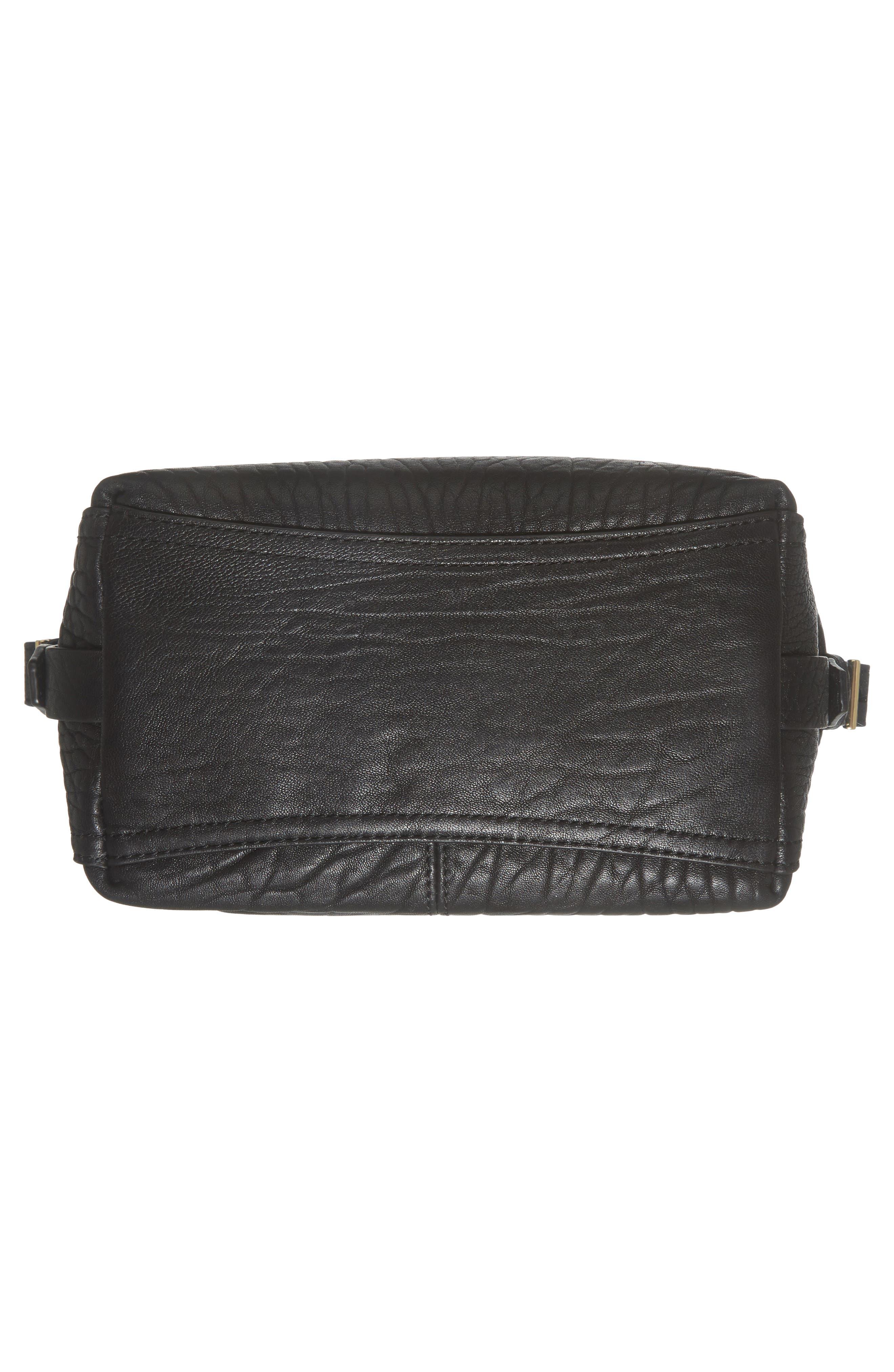 Fava Leather Bucket Bag,                             Alternate thumbnail 5, color,                             Black