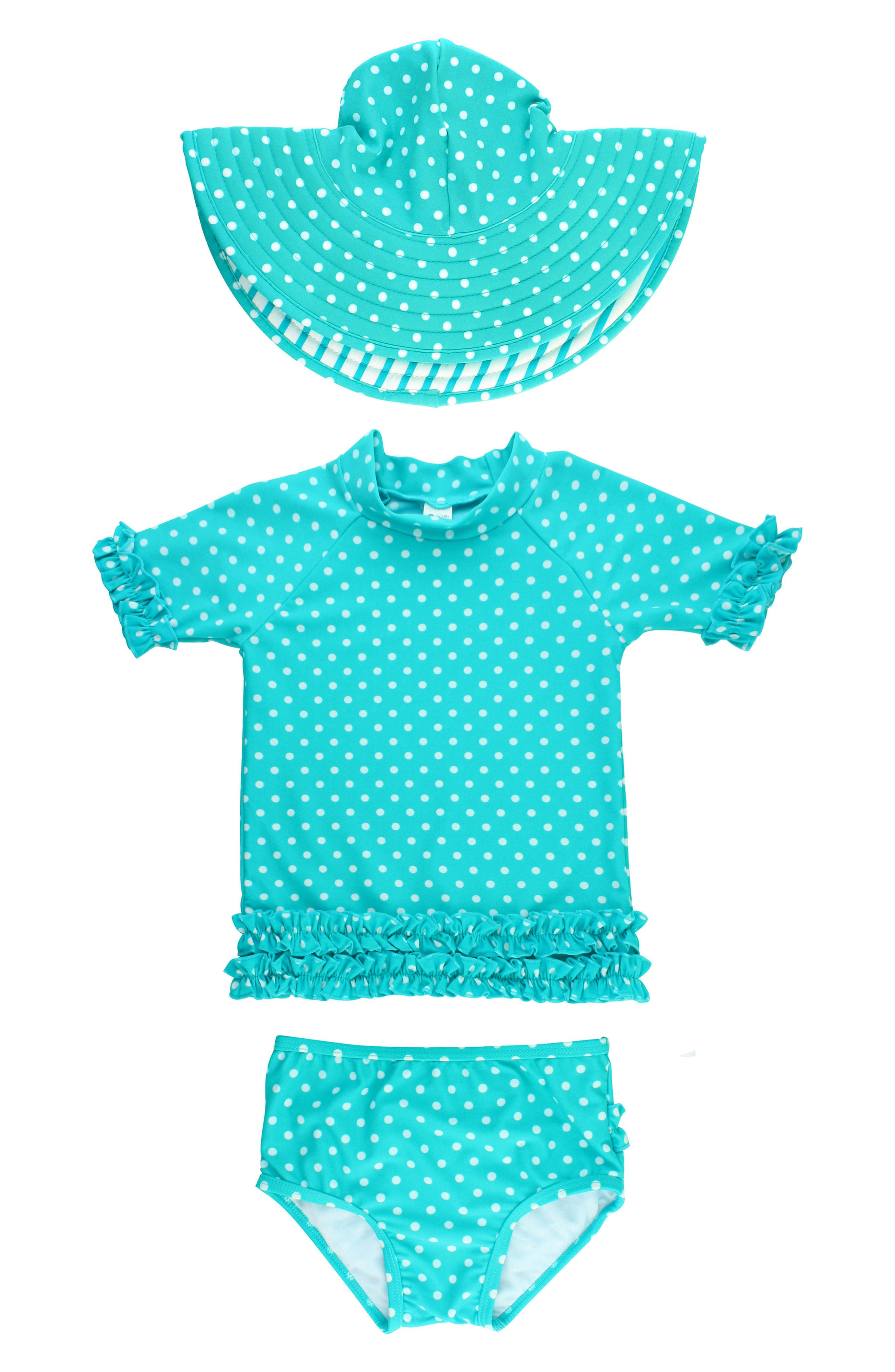 One-Piece Rashguard Swimsuit & Hat Set,                         Main,                         color, Aqua
