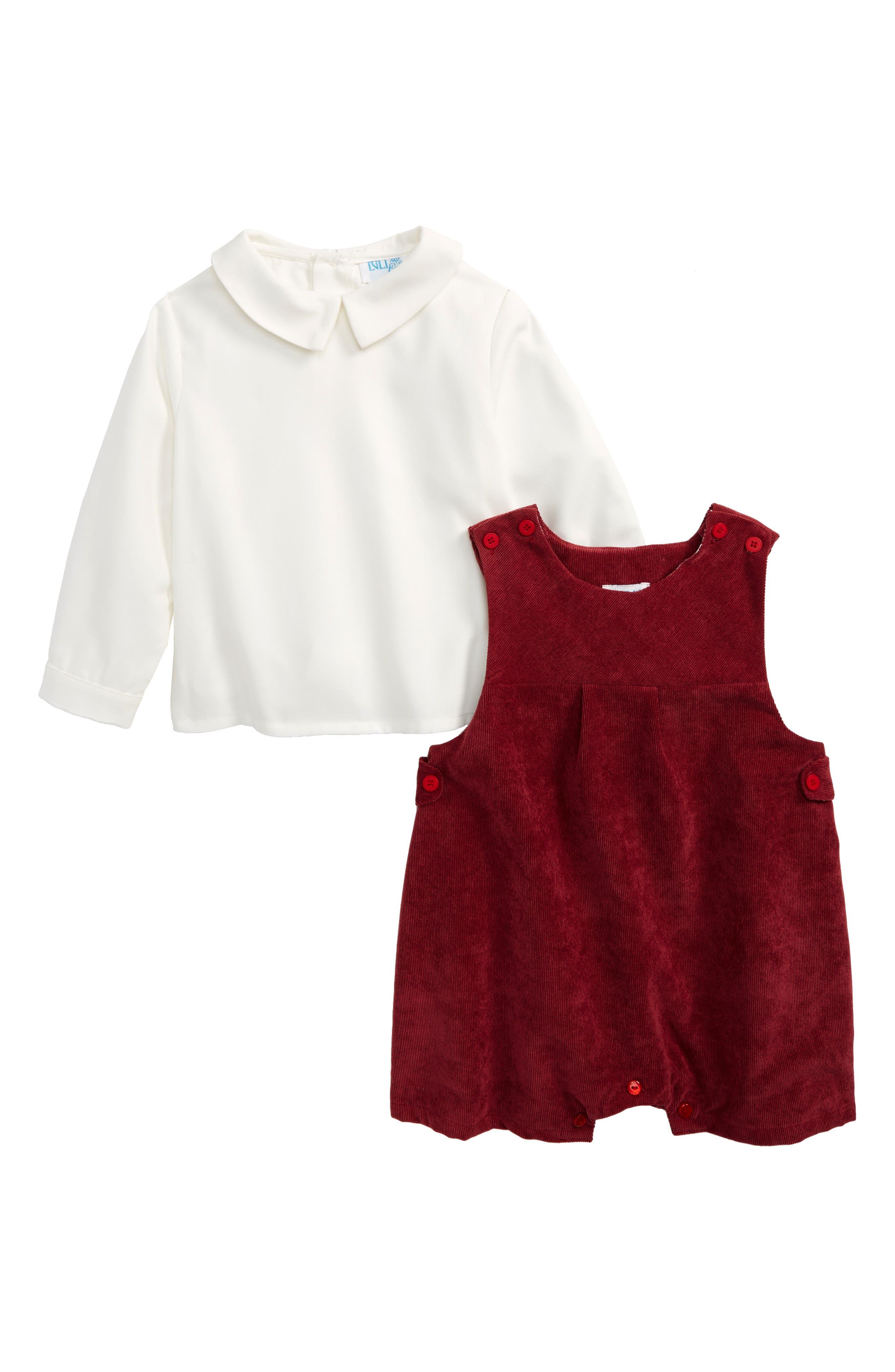 Luli & Me Shirt & Corduroy Overalls Set (Baby Boys)