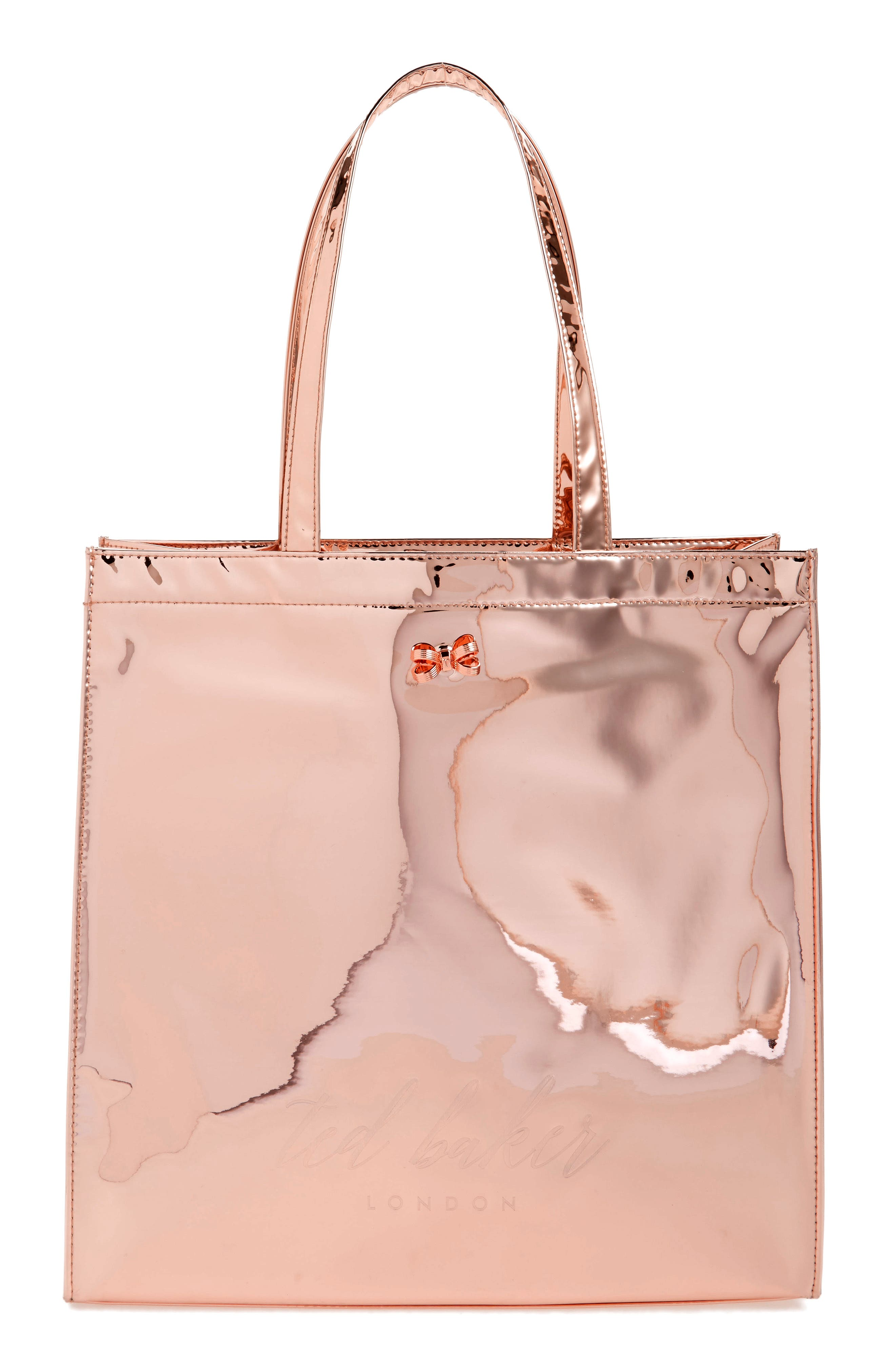 Jencon Mirrored Large Icon Tote,                             Main thumbnail 1, color,                             Rose Gold