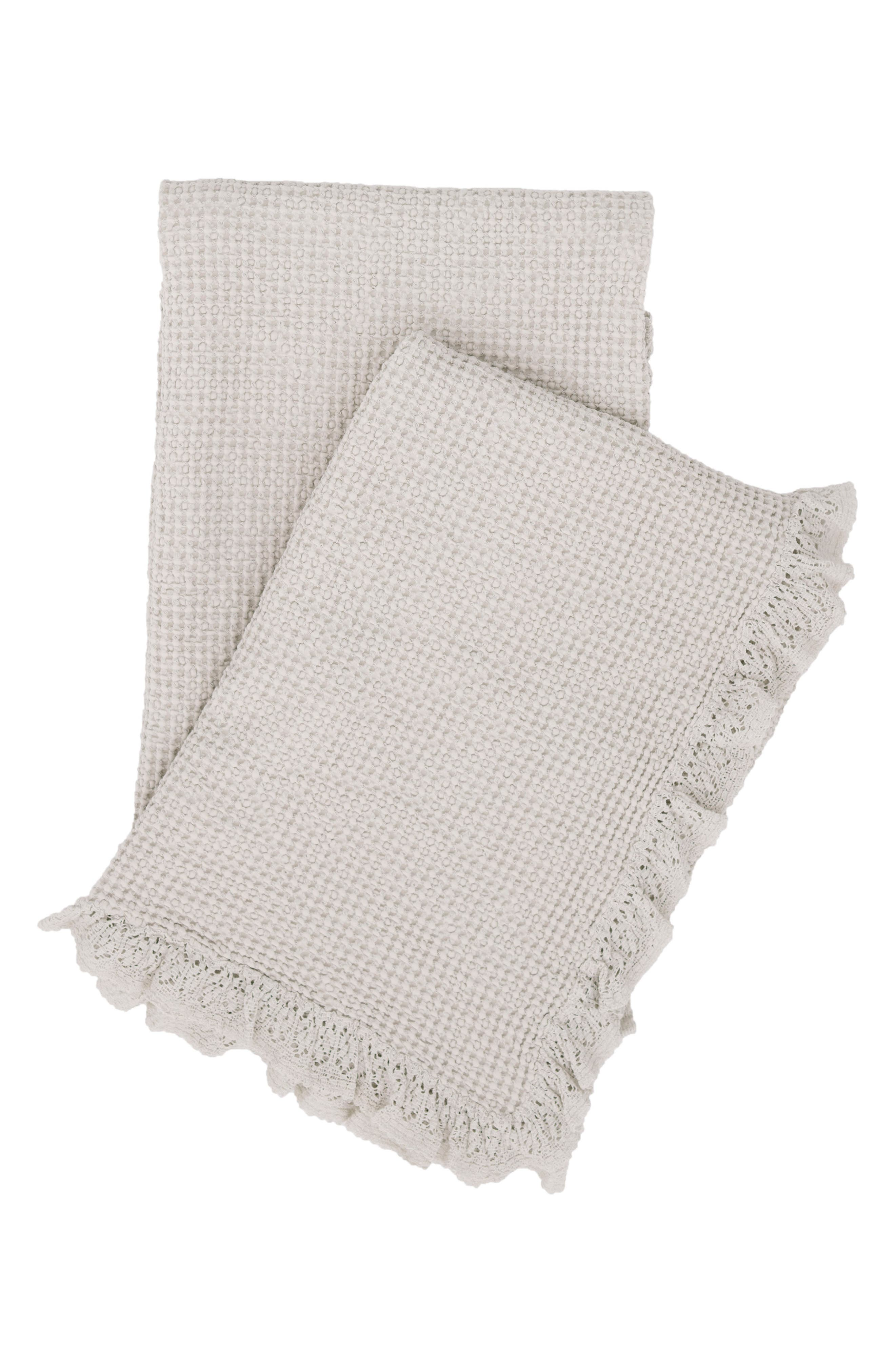 Lace Ruffle Throw,                         Main,                         color, Grey