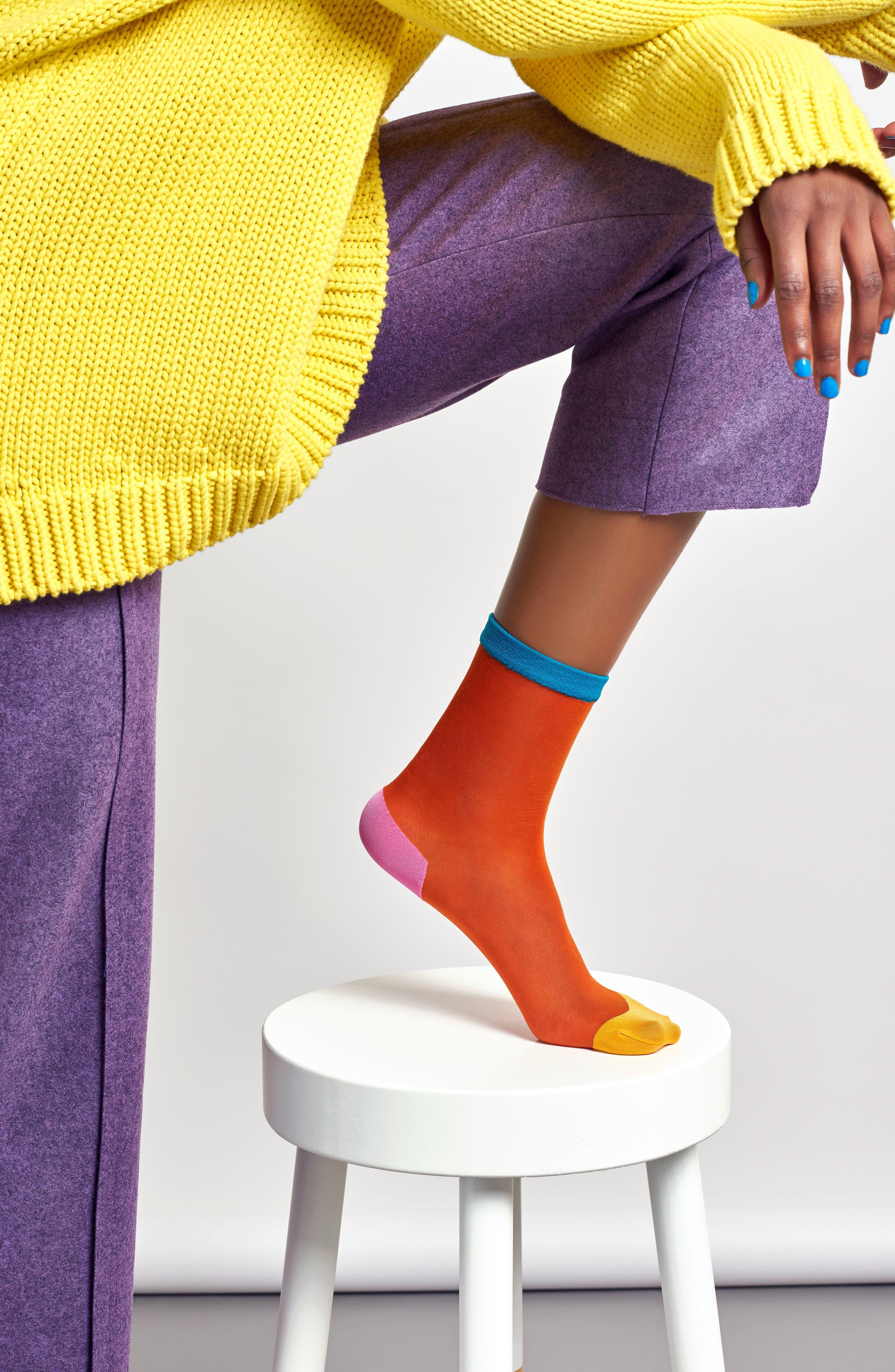 Frankie Pop Sheer Socks,                             Alternate thumbnail 2, color,                             Amber