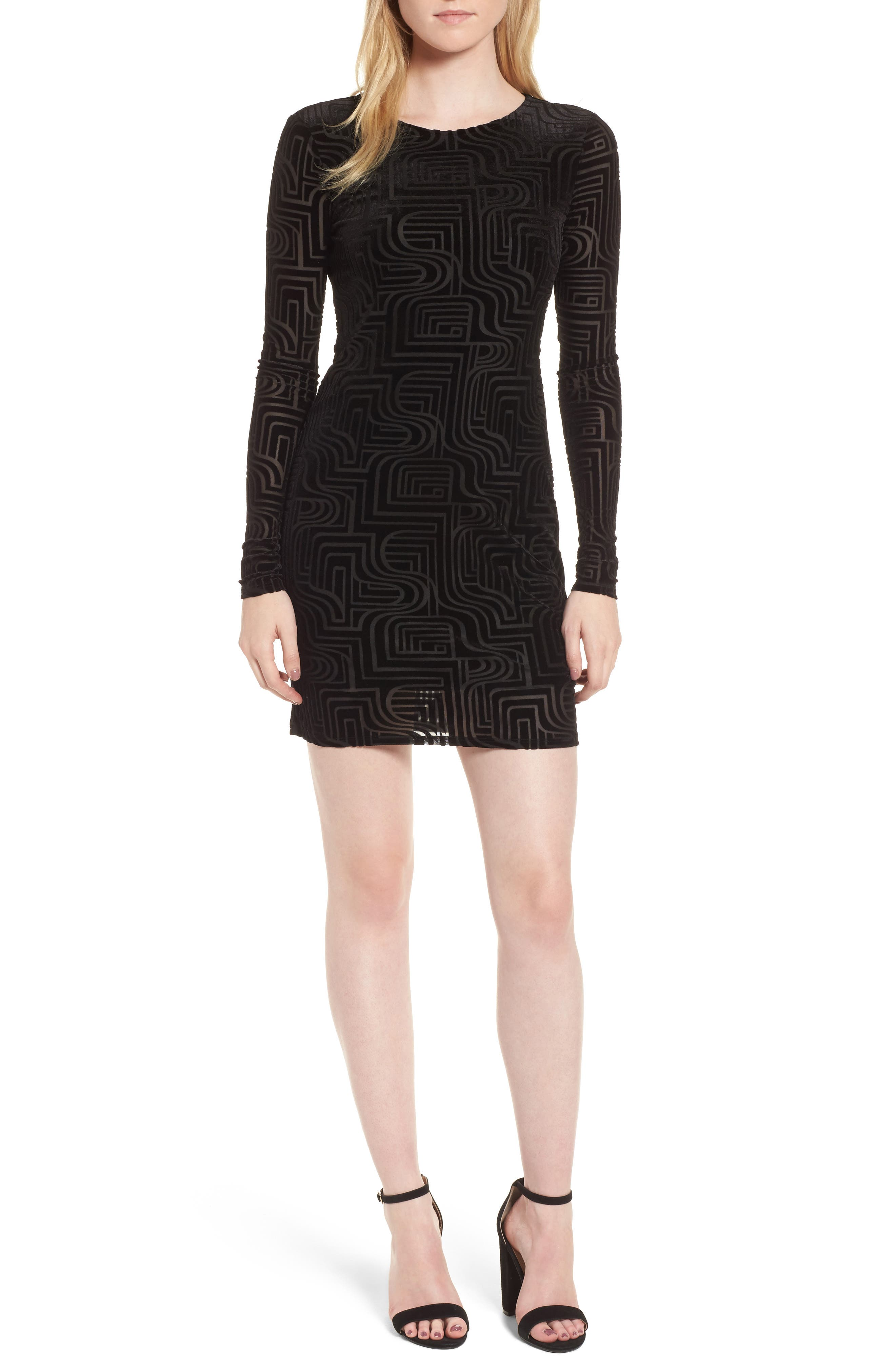 Burnout Velvet Sheath Dress,                             Main thumbnail 1, color,                             Black